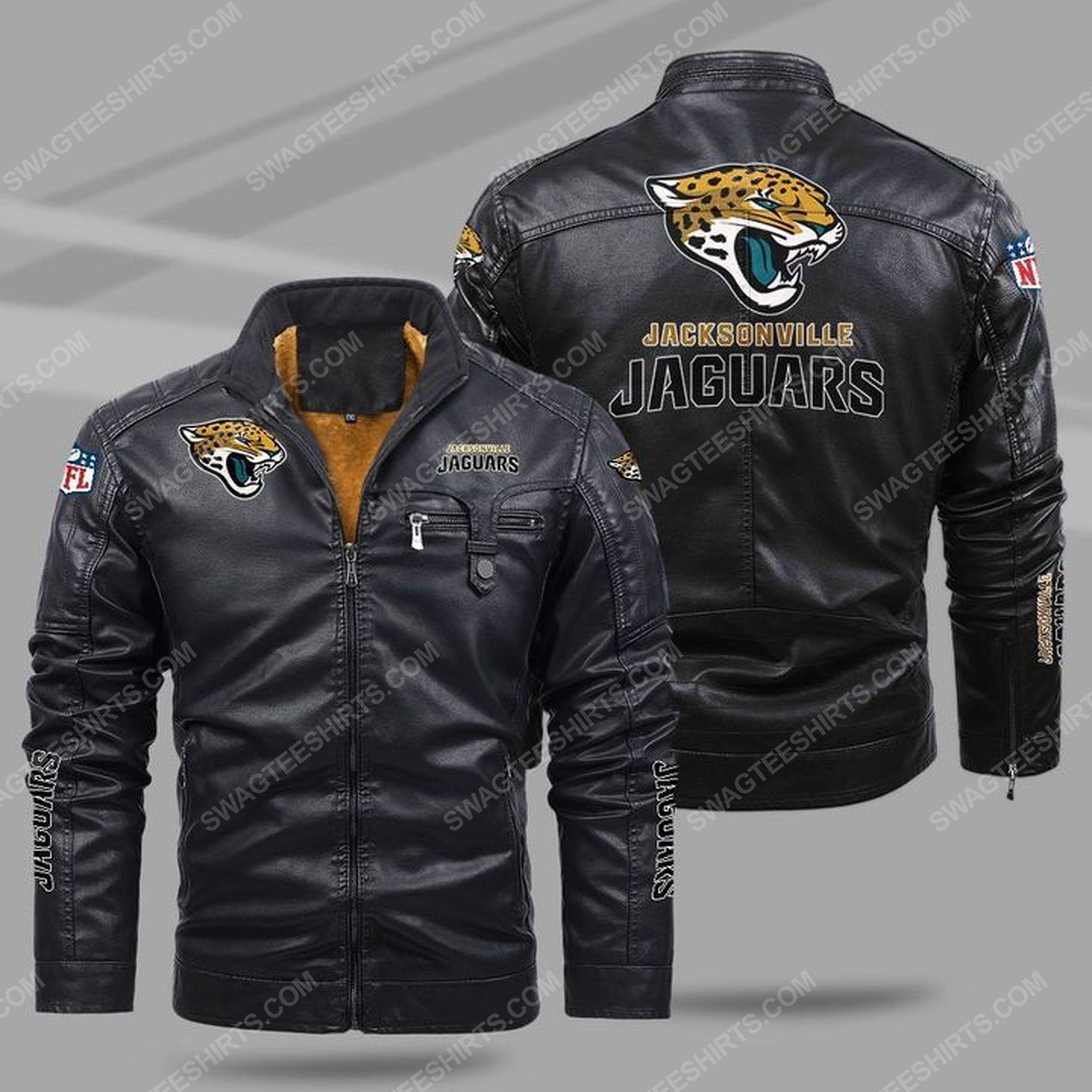 The jacksonville jaguars nfl all over print fleece leather jacket - black 1 - Copy