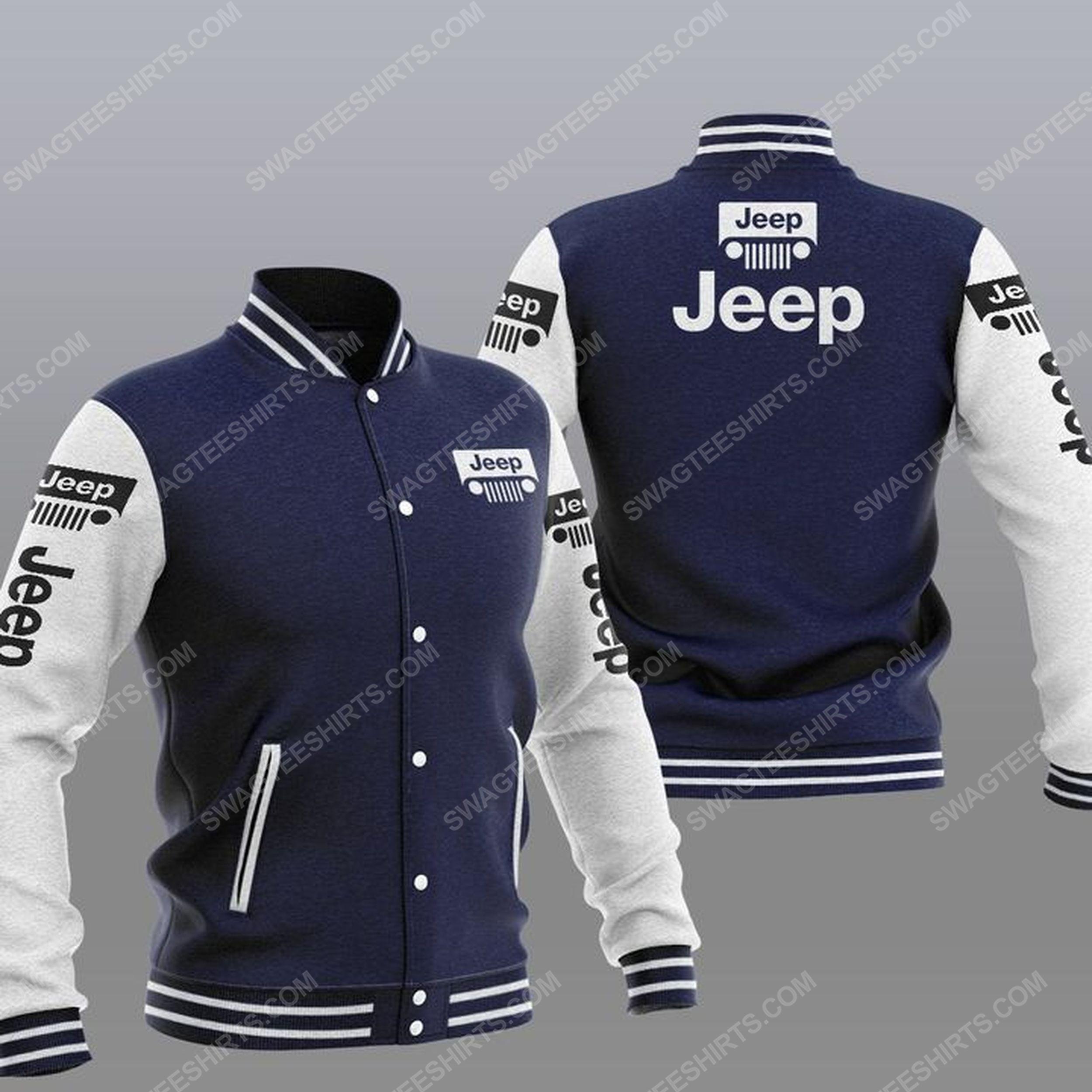 The jeep car symbol all over print baseball jacket - navy 1