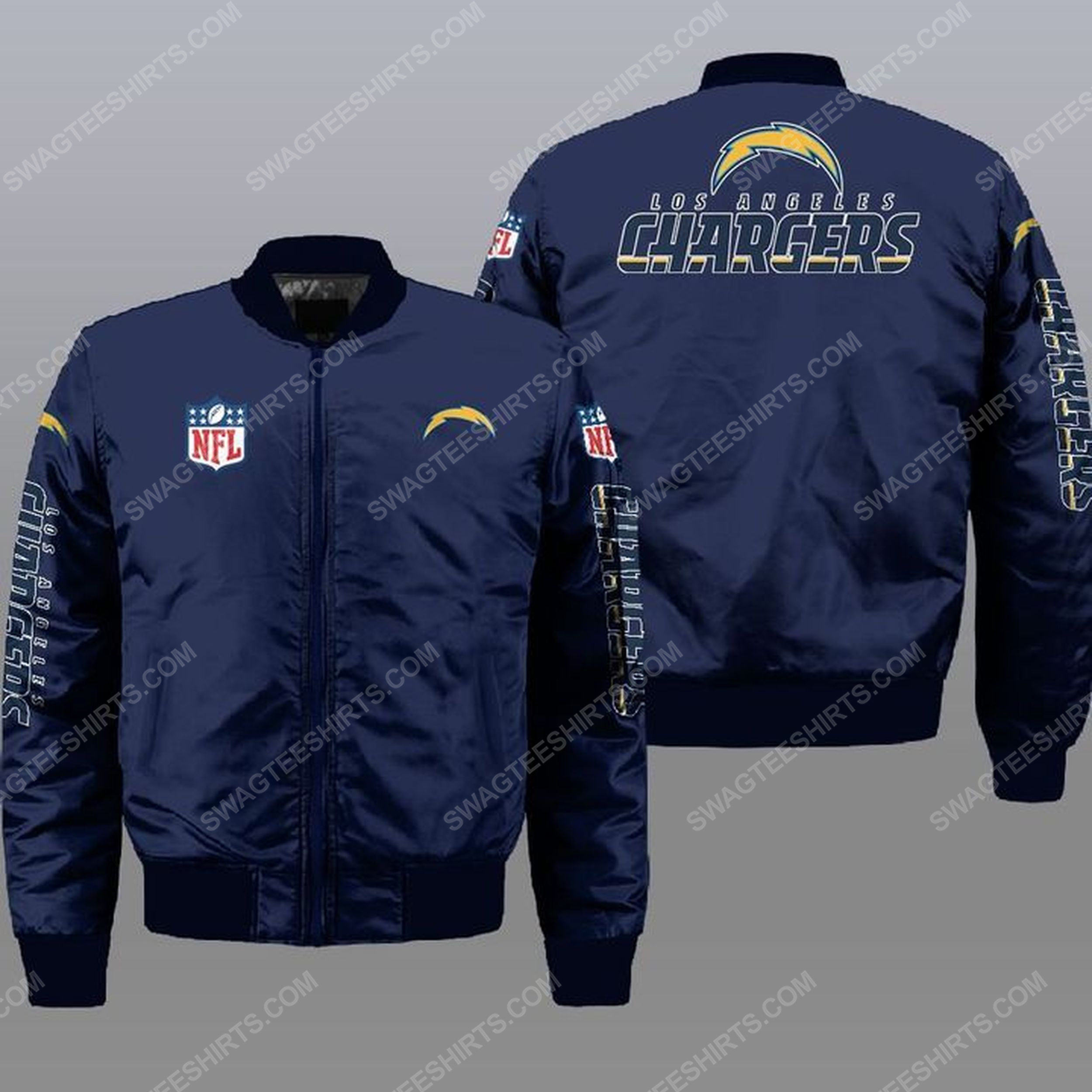 The los angeles chargers nfl all over print bomber jacket -navy 1