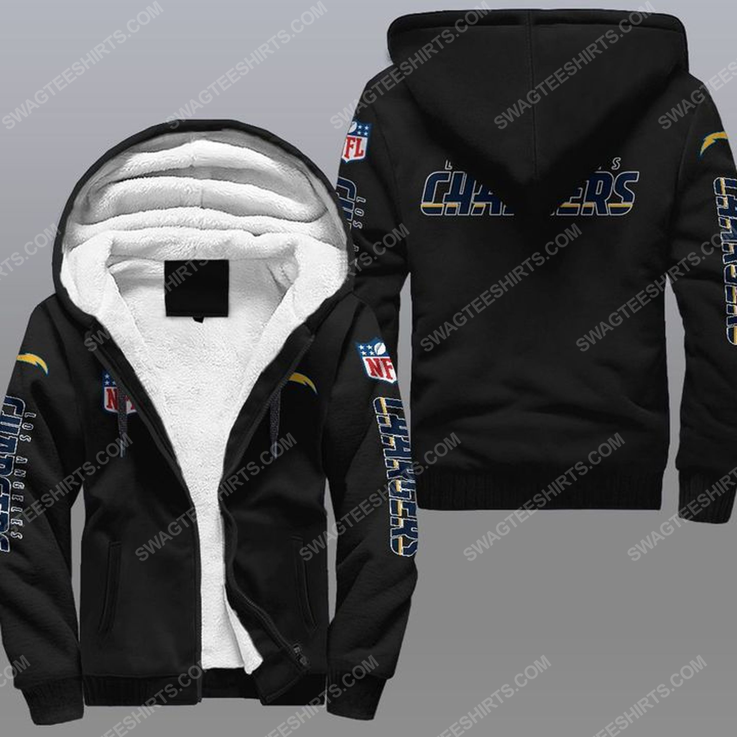 The los angeles chargers nfl all over print fleece hoodie - black 1