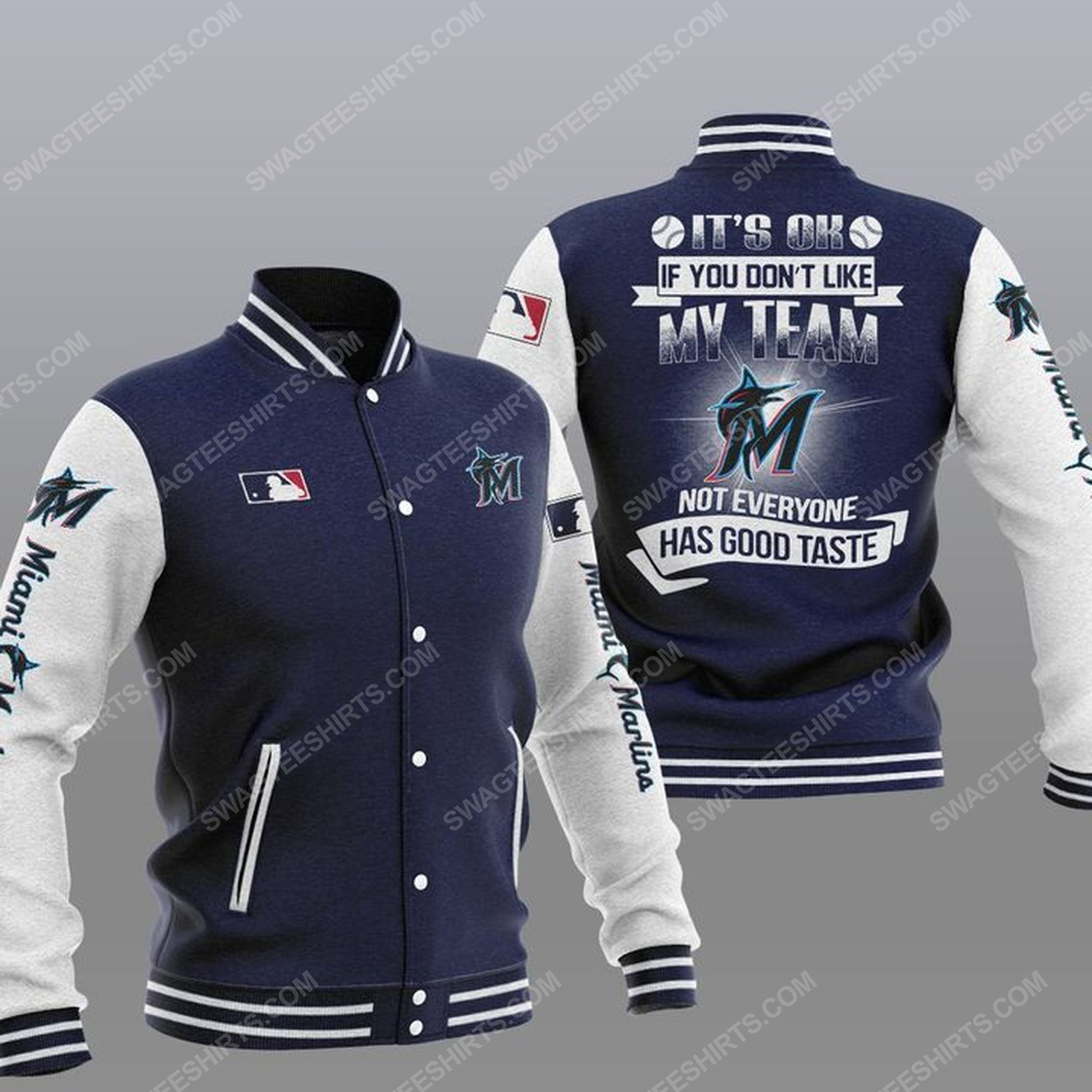 The miami marlins mlb all over print baseball jacket - navy 1