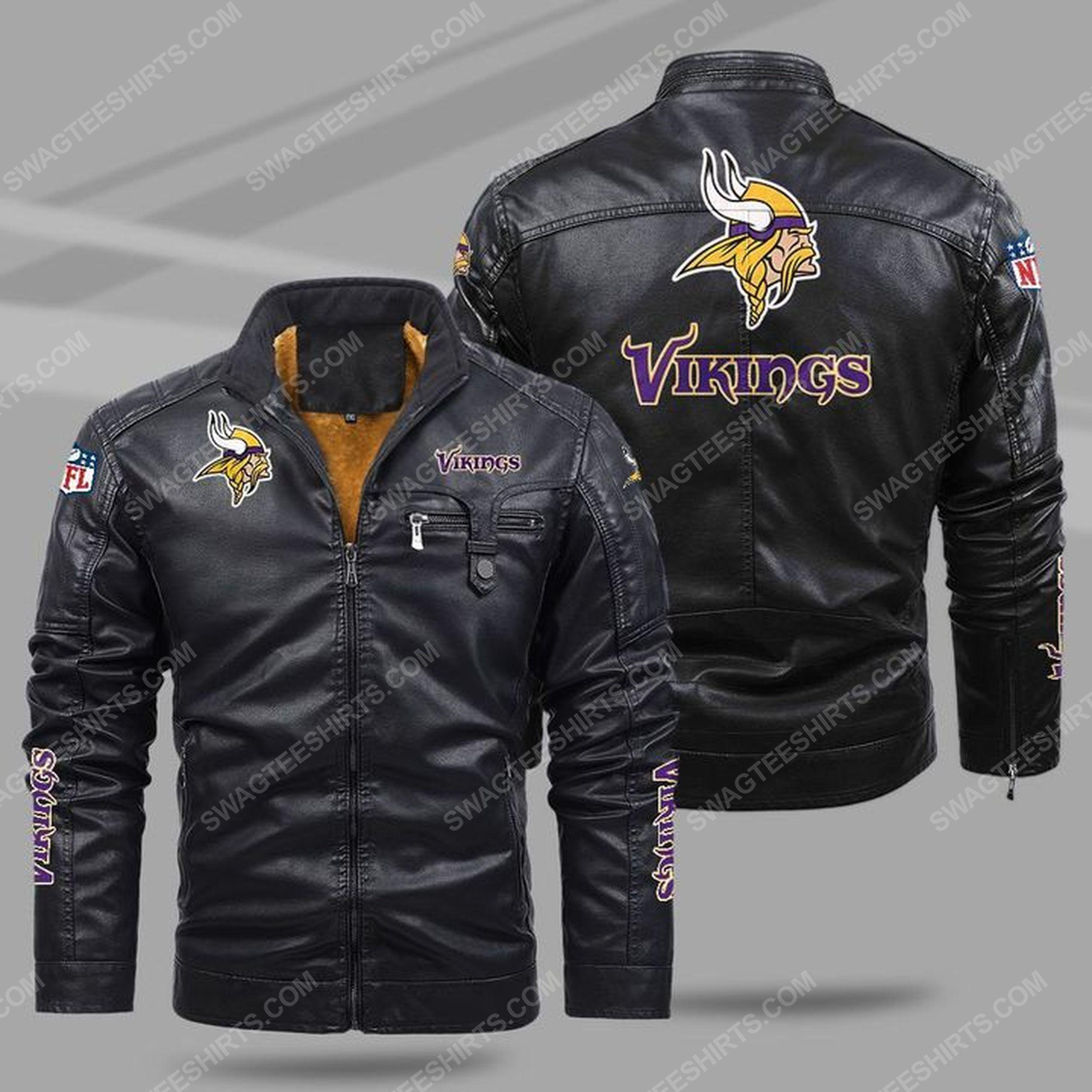 The minnesota vikings nfl all over print fleece leather jacket - black 1 - Copy
