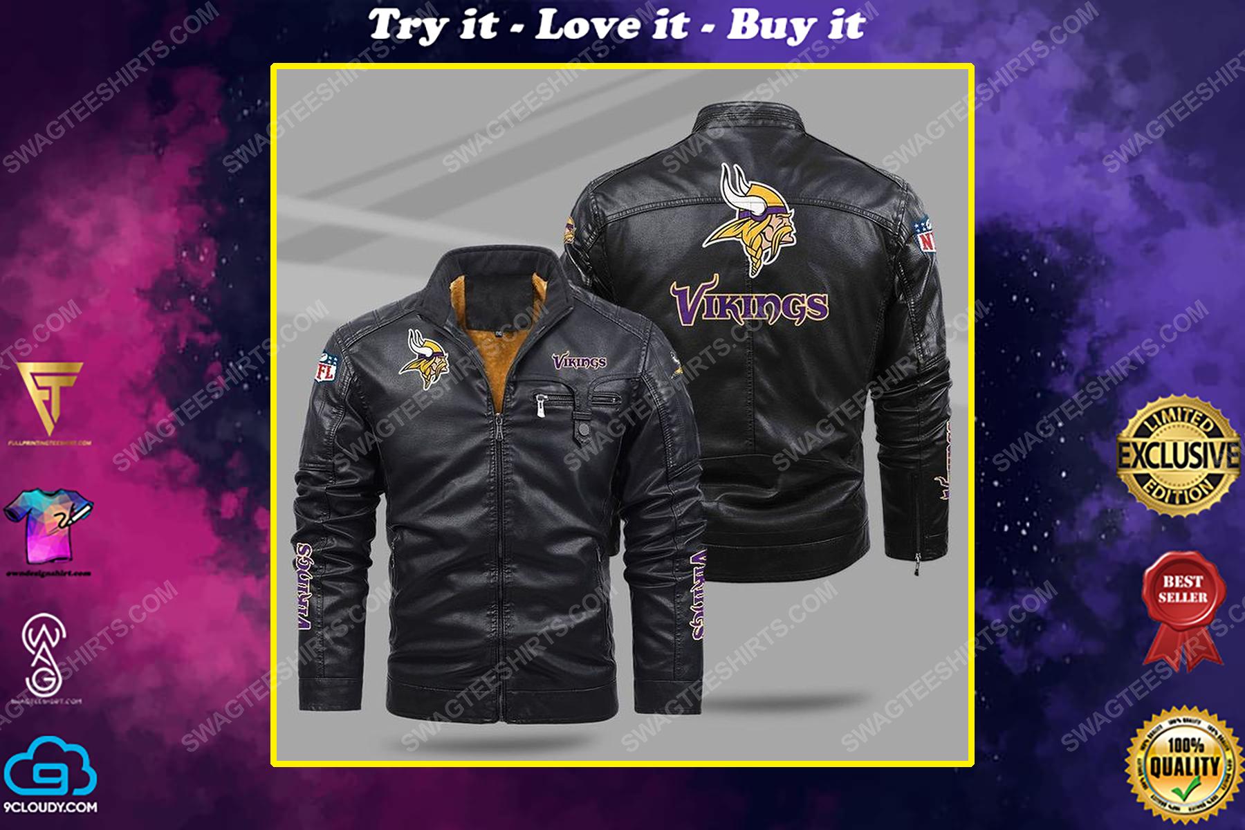 The minnesota vikings nfl all over print fleece leather jacket