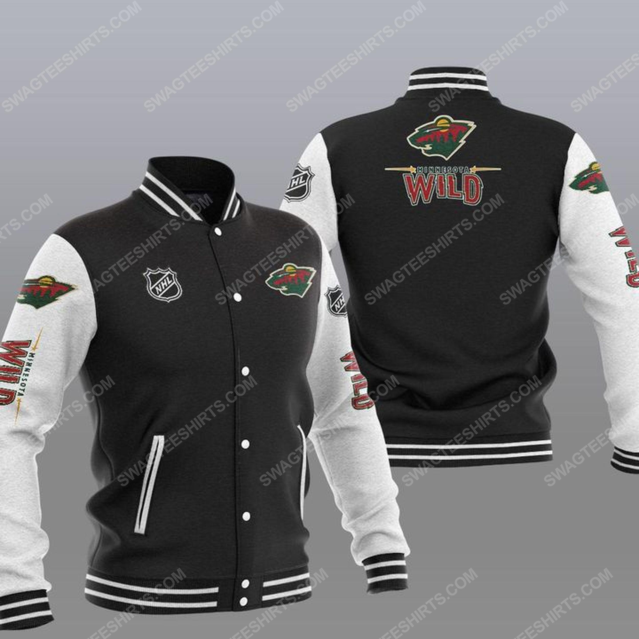 The minnesota wild nhl all over print baseball jacket - black 1