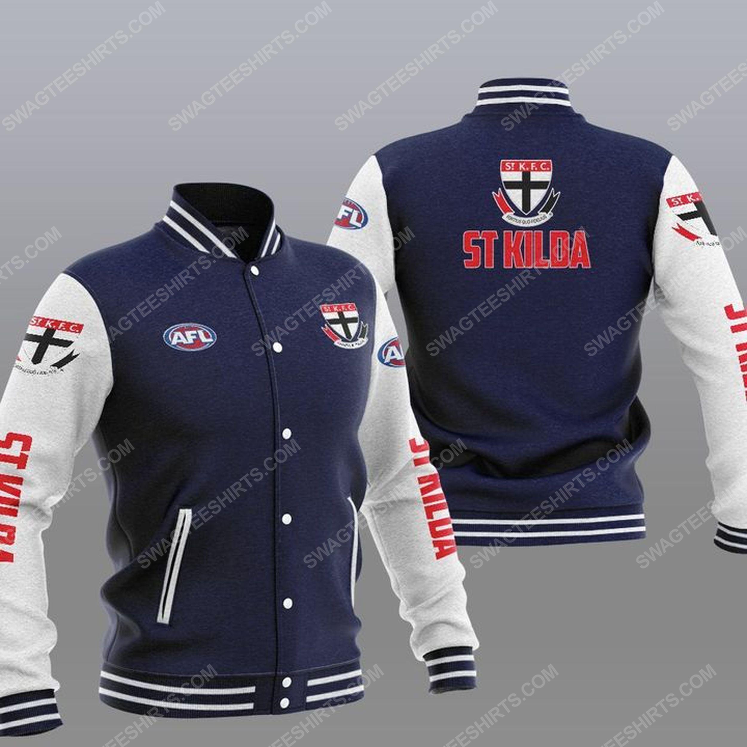 The st kilda football club all over print baseball jacket - navy 1