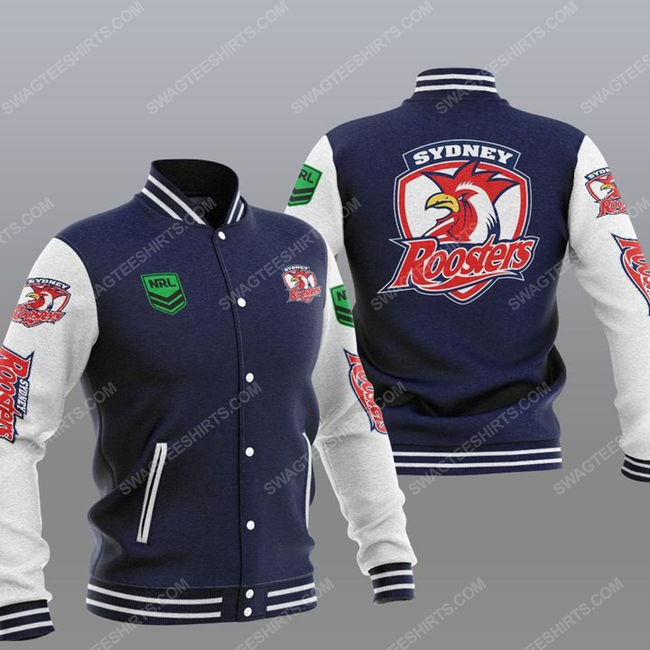 The sydney roosters nfl all over print baseball jacket - navy 1