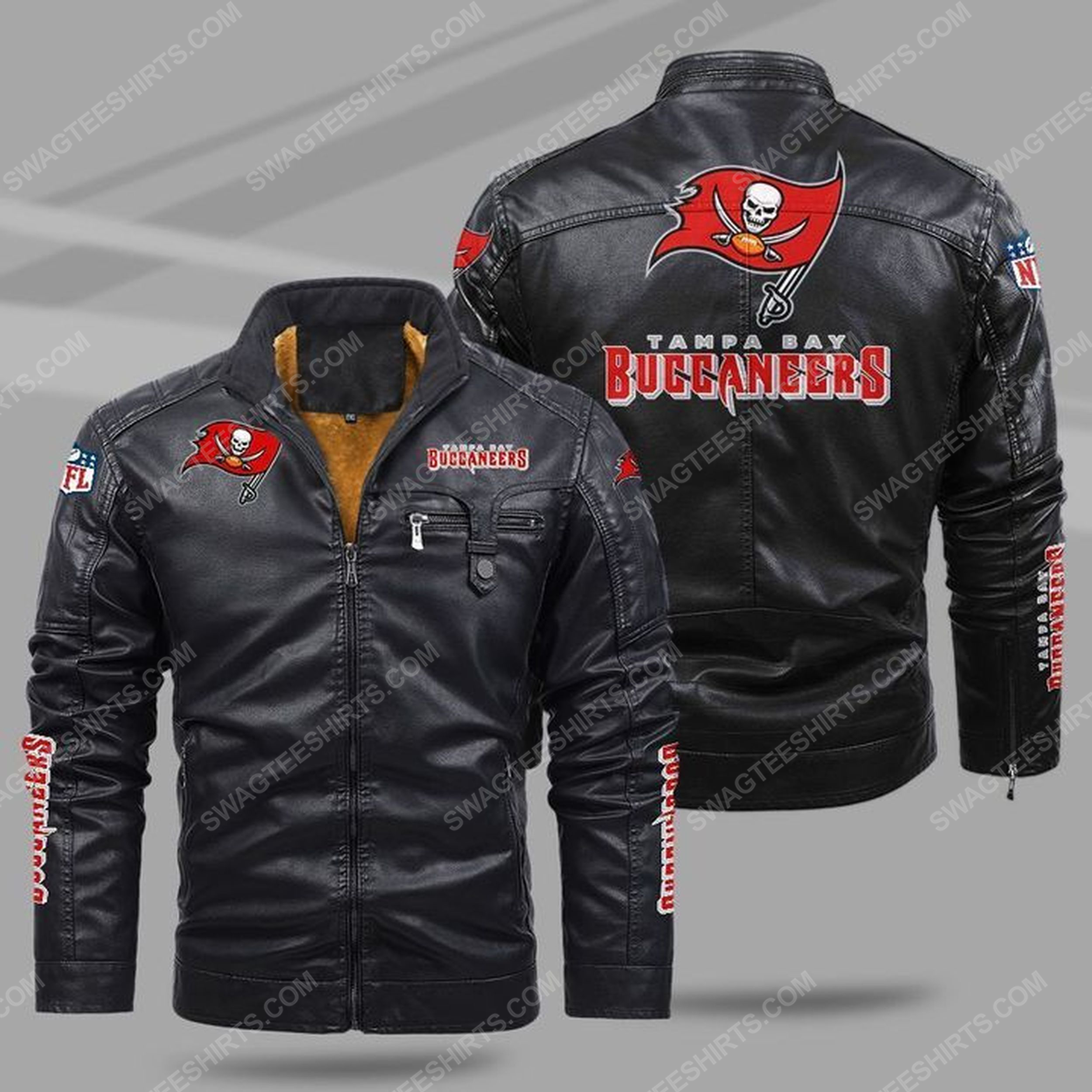 The tampa bay buccaneers nfl all over print fleece leather jacket - black 1 - Copy