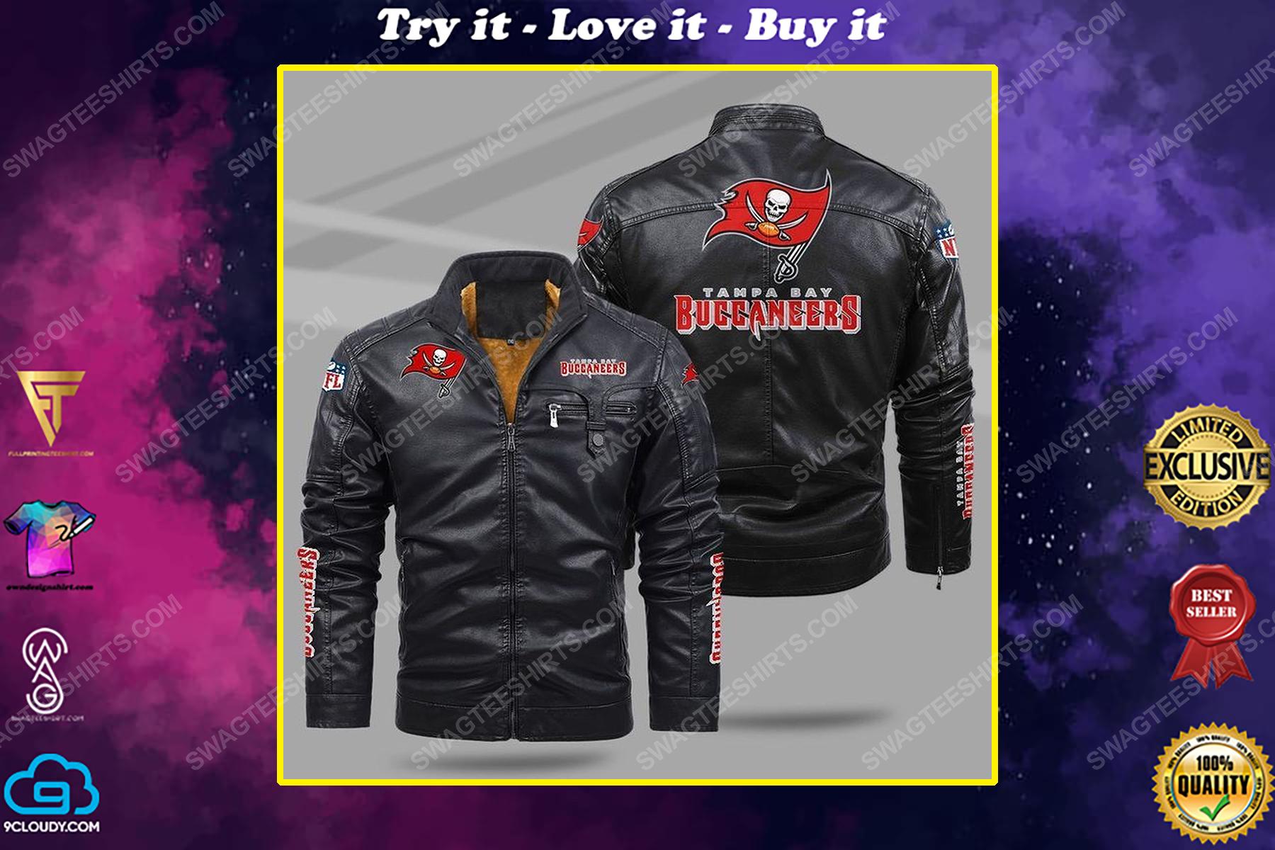 The tampa bay buccaneers nfl all over print fleece leather jacket