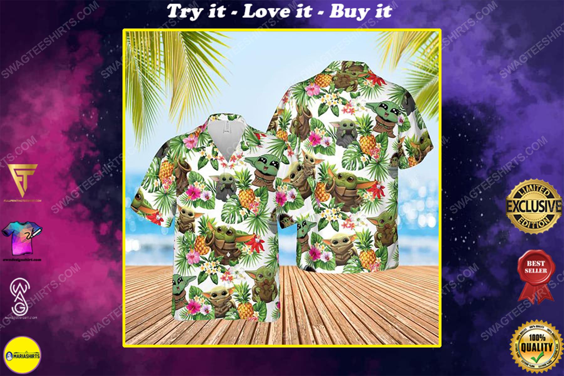 Tropical fruits star wars baby yoda summer vacation hawaiian shirt