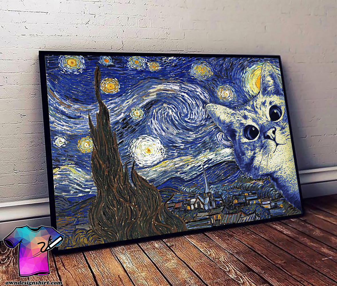 Vincent van gogh starry night cat poster