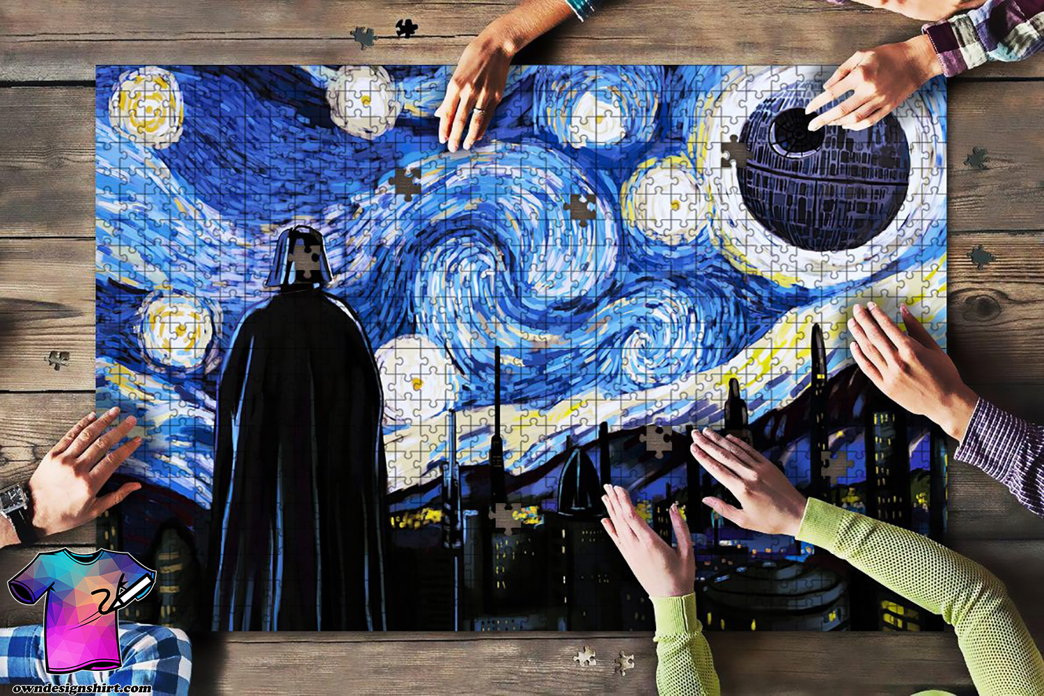 Vincent van gogh starry night darth vader and death star jigsaw puzzle