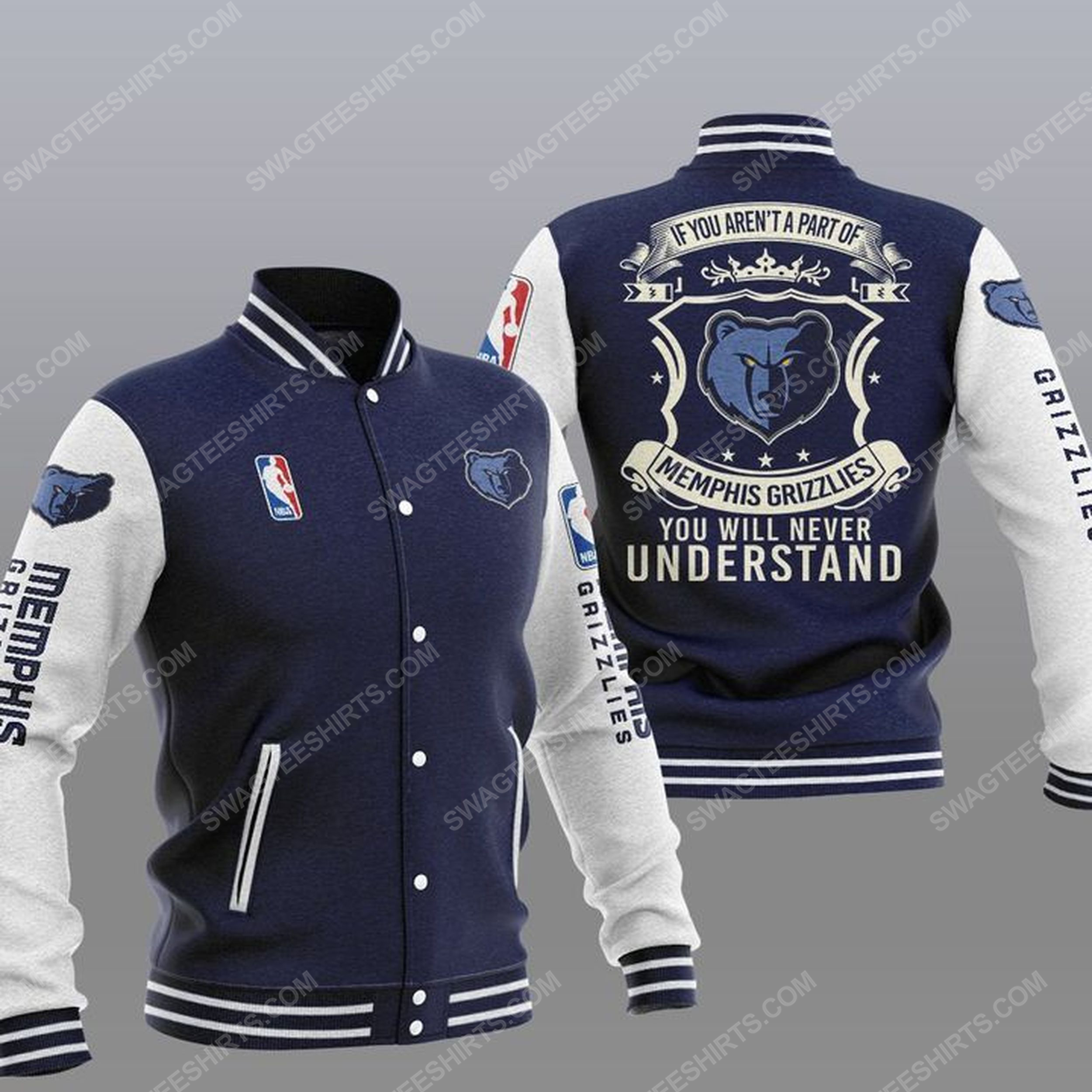 You will never understand memphis grizzlies all over print baseball jacket - navy 1