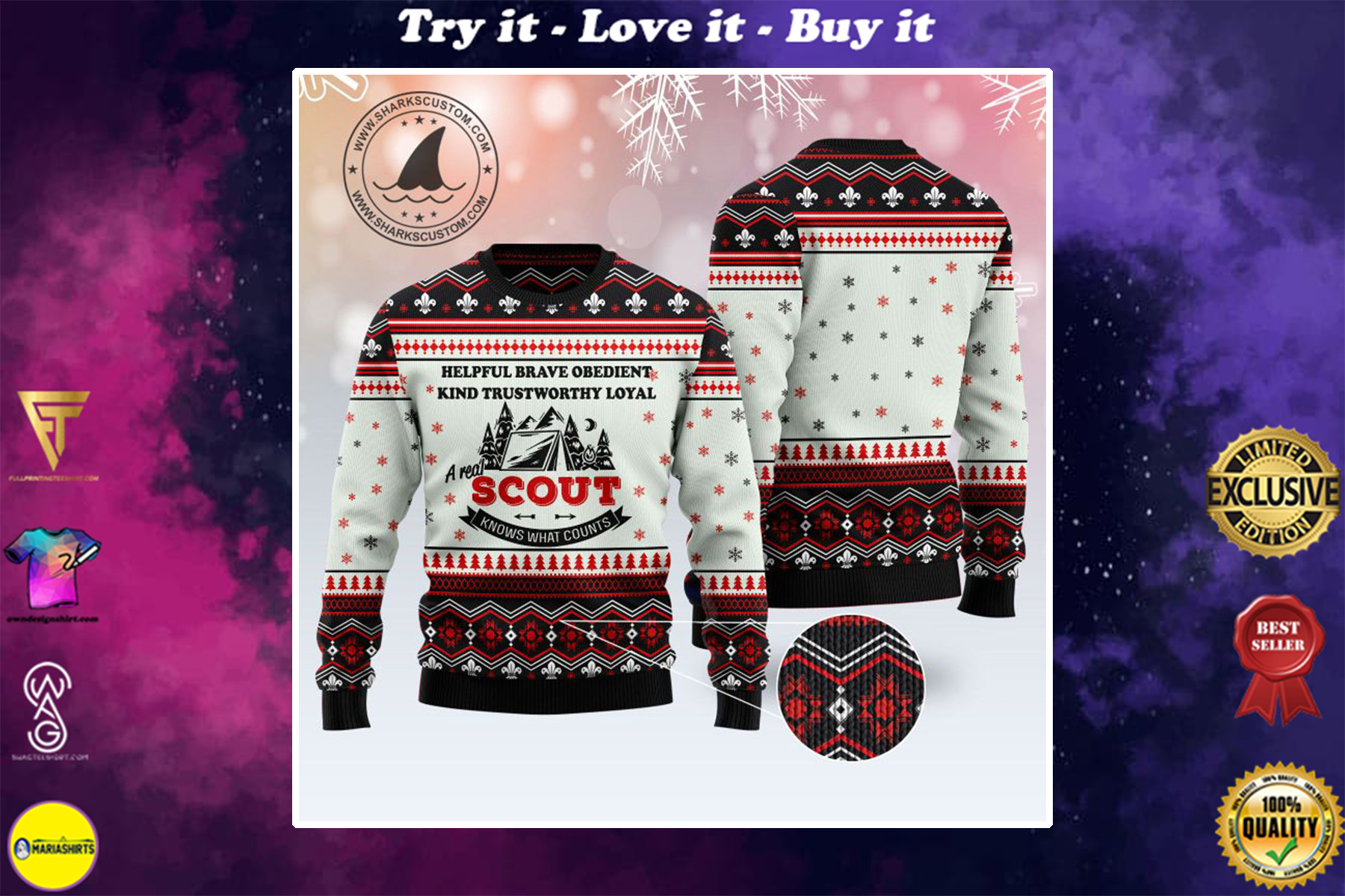 a real scout knows what counts all over printed ugly christmas sweater