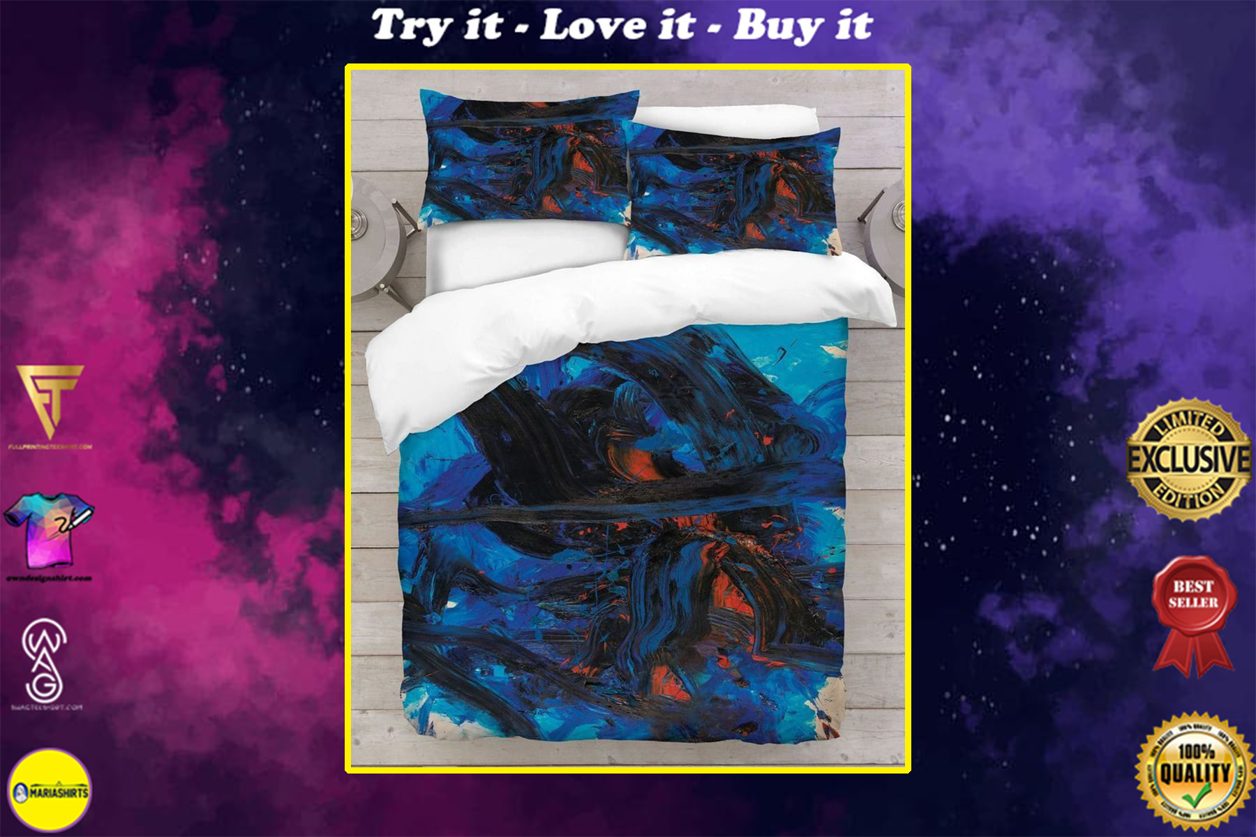 abstract painting blue and black full printing bedding set