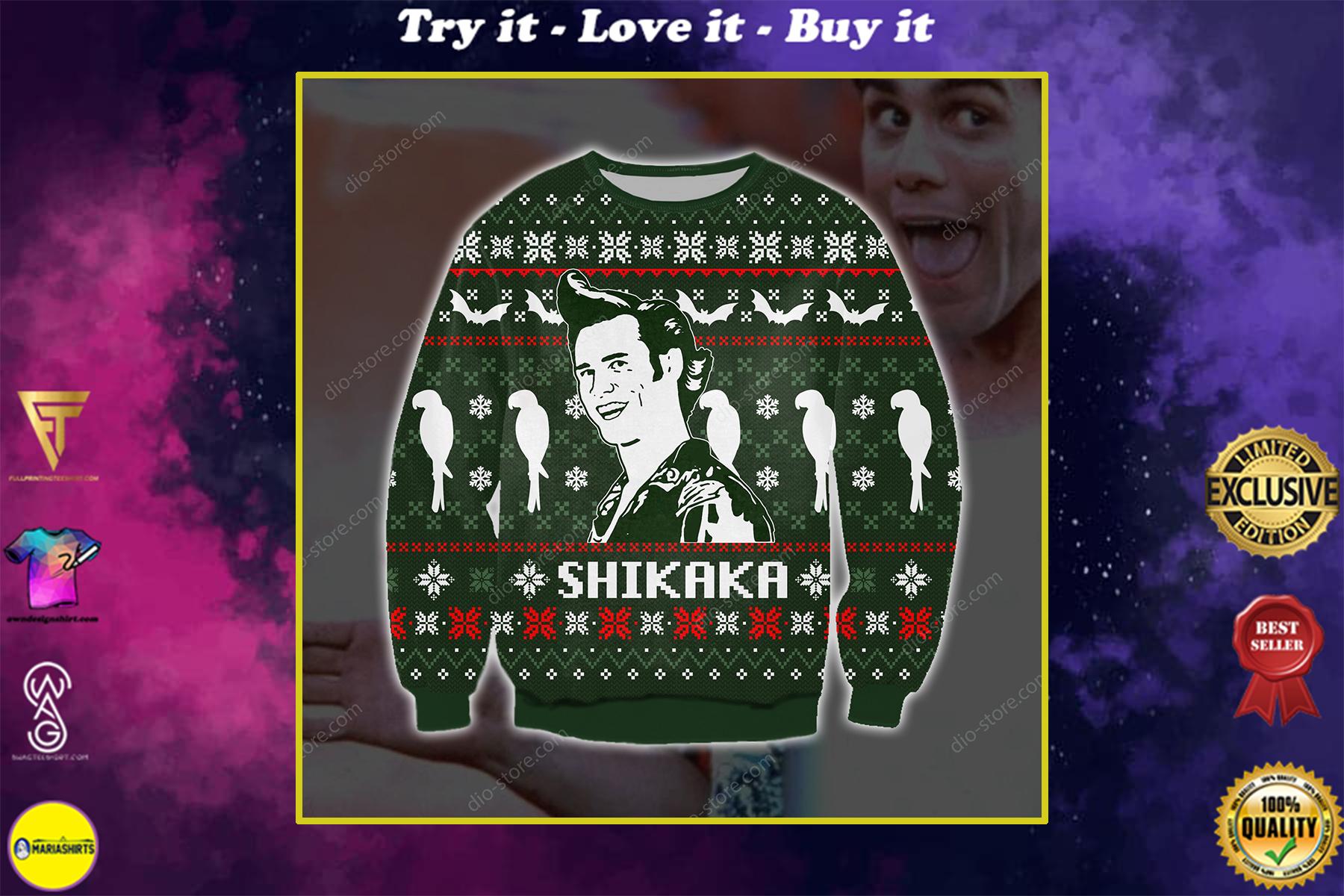 ace ventura shikaka all over printed ugly christmas sweater