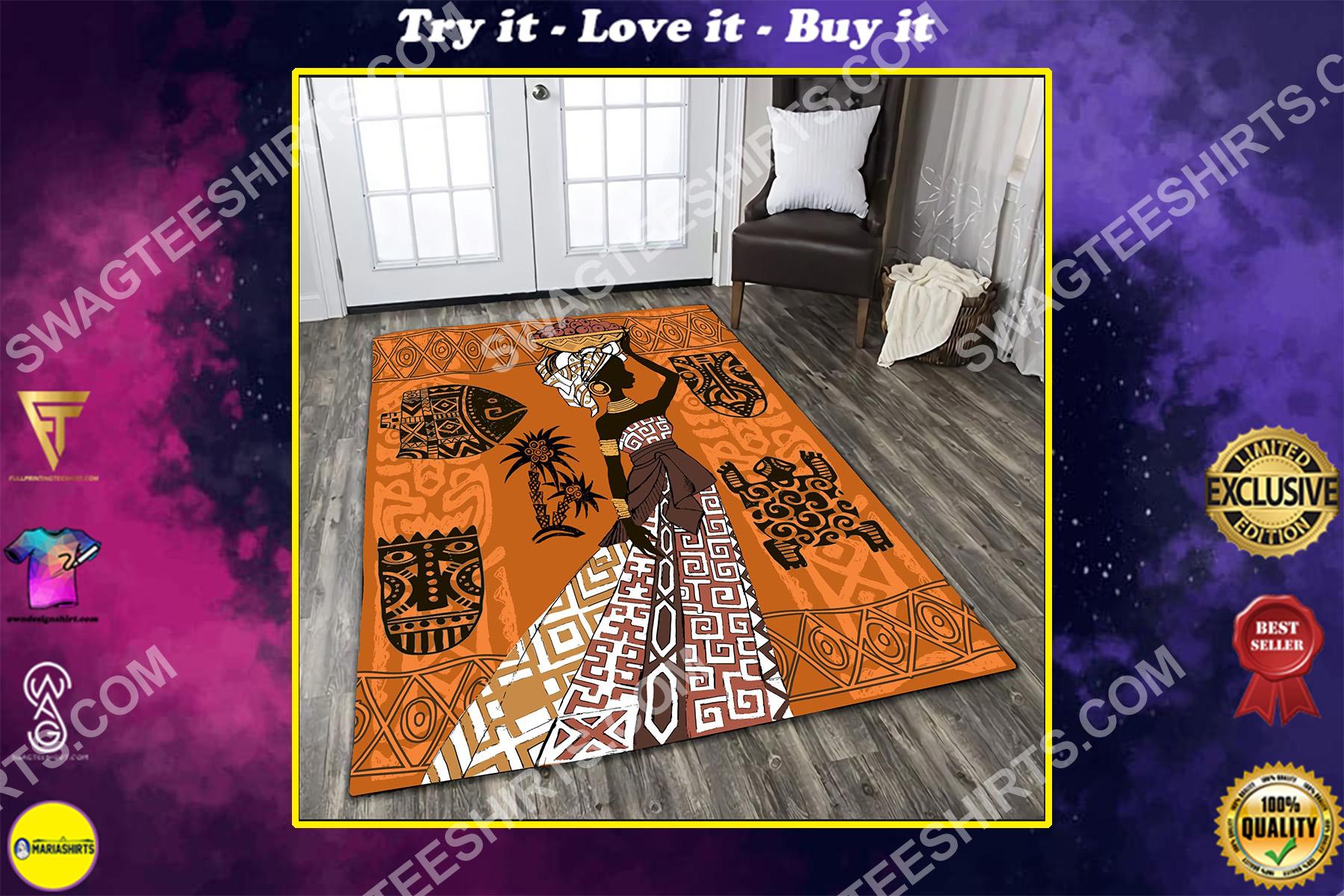 africa lady vintage all over printed rug