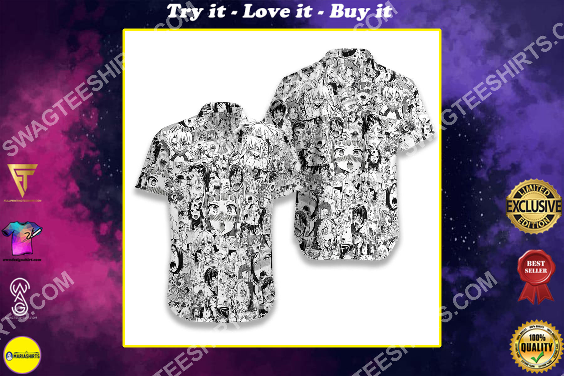agehao anime all over printed hawaiian shirt