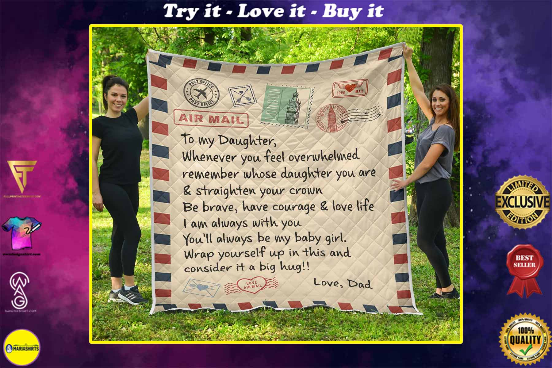 air mail letter to my daughter youll always be my baby girl your dad quilt