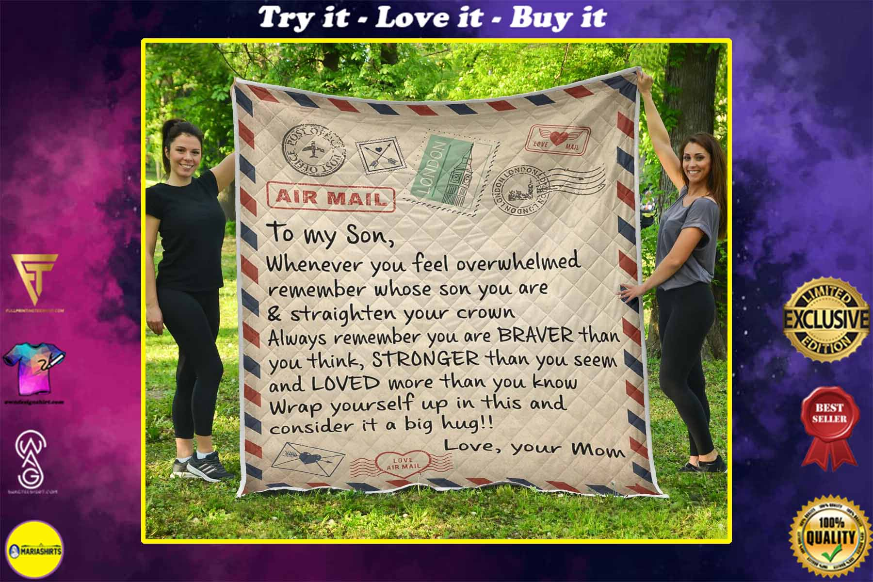 air mail letter to my son always remember you are braver than you think your mom quilt