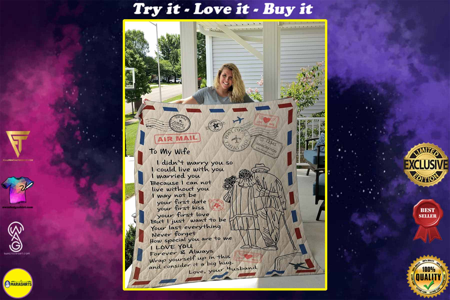 air mail letter to my wife i love you forever and always your husband quilt