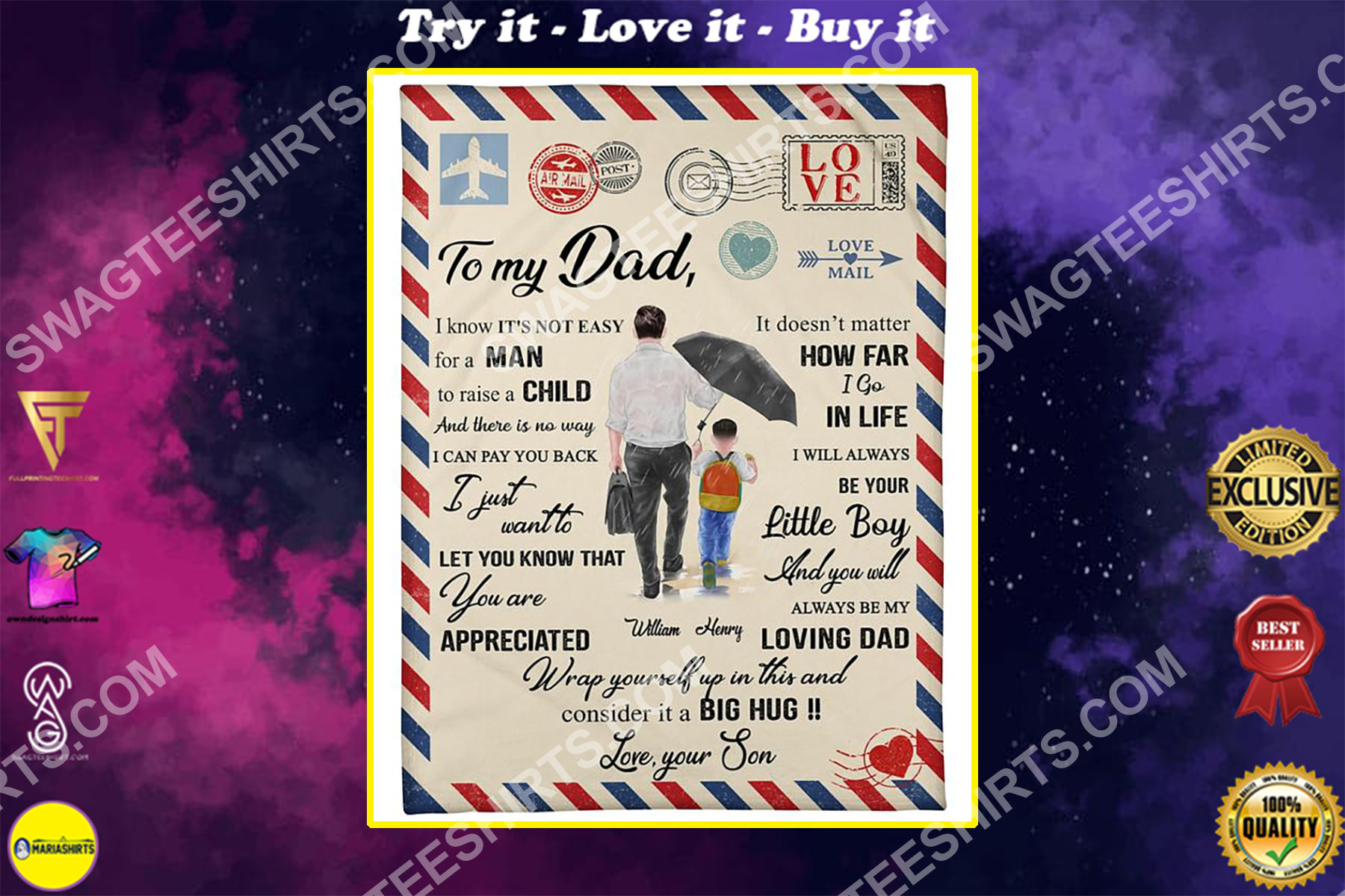 air mail to my dad i know its not easy for a man to raise a child blanket