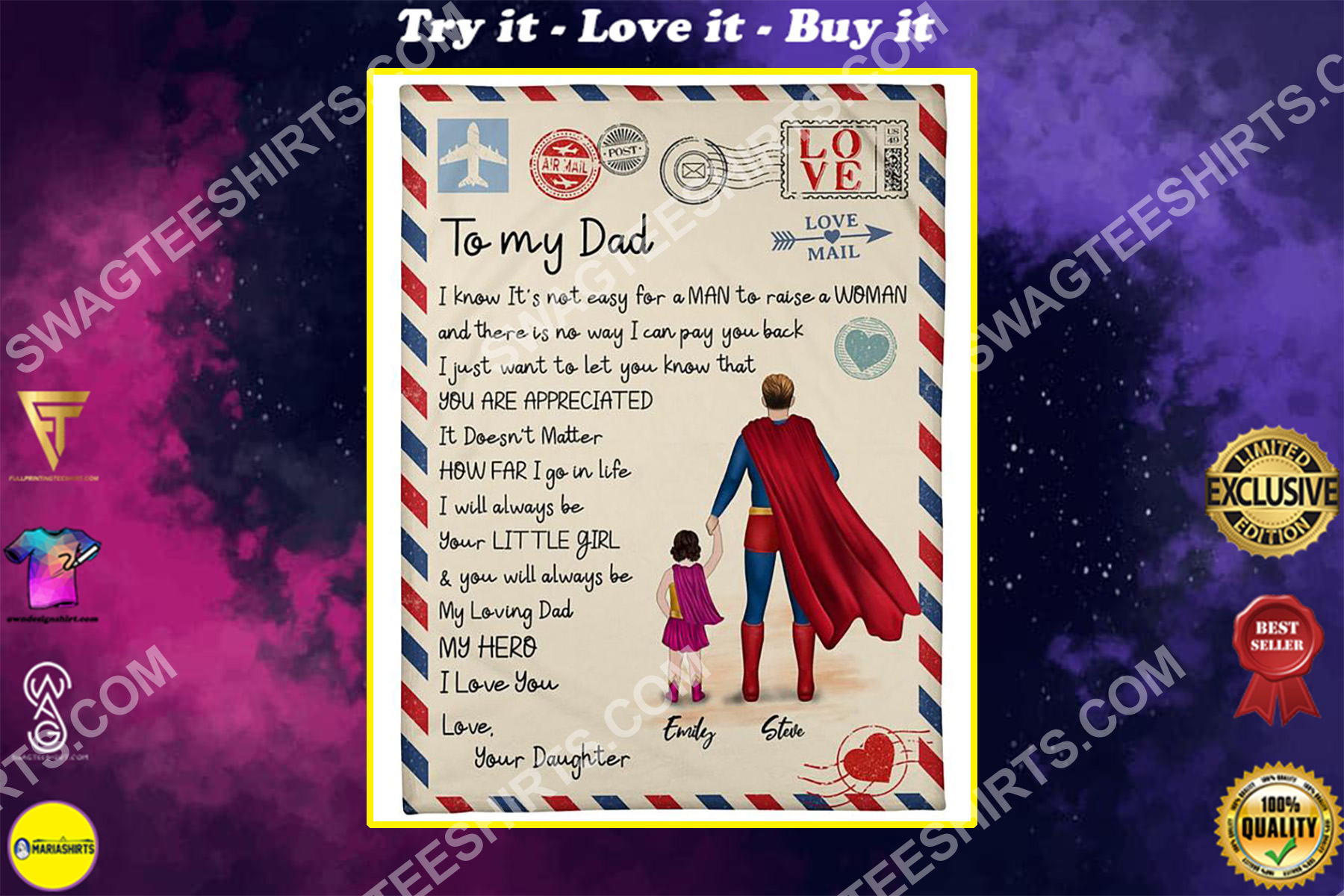 air mail to my dad i know its not easy for a man to raise a woman blanket