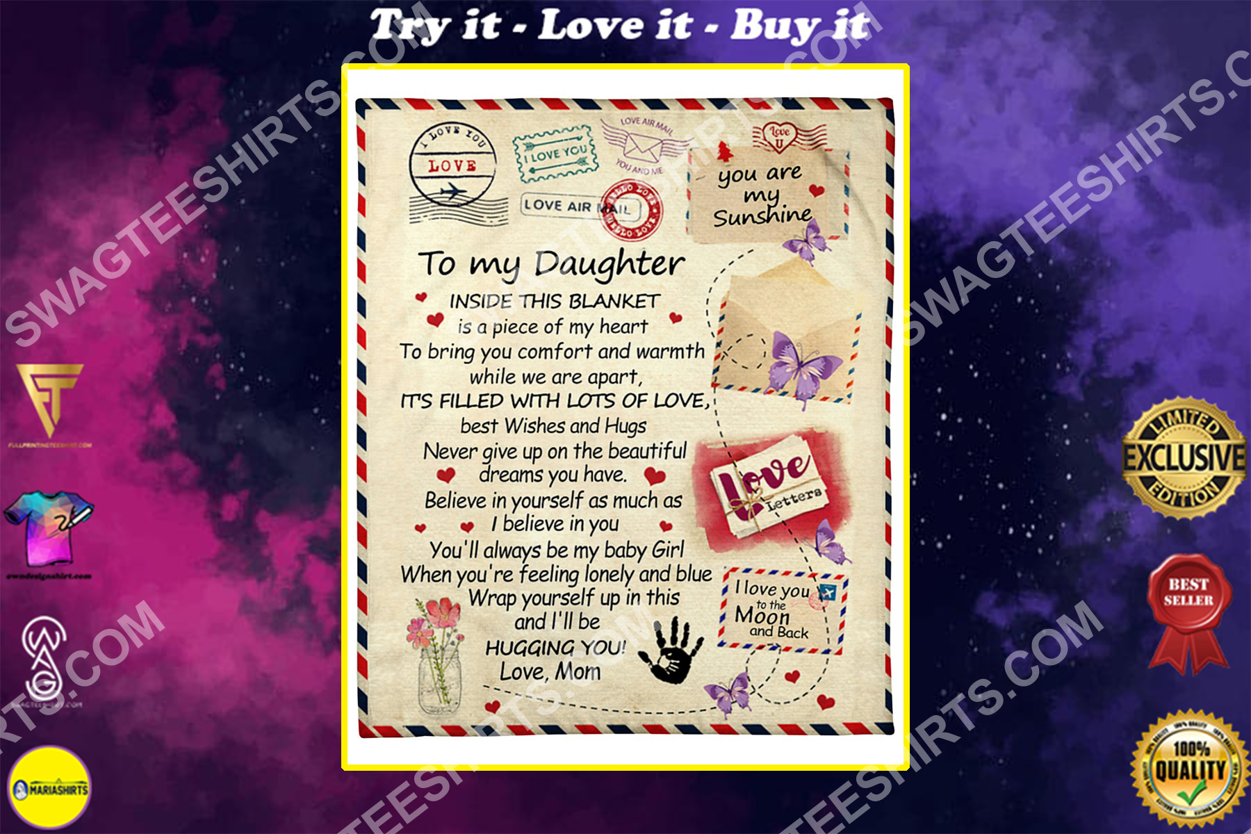 air mail to my daughter i love you to the moon and back blanket