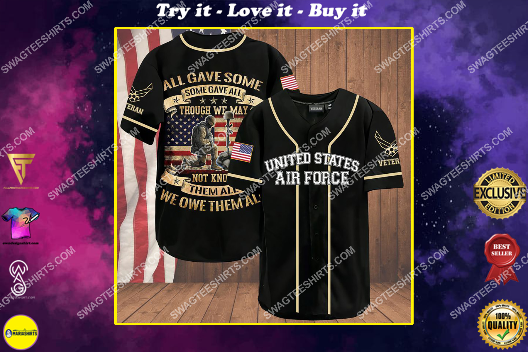 all gave some some gave all though we may not know them all we owe them all air force veteran baseball shirt
