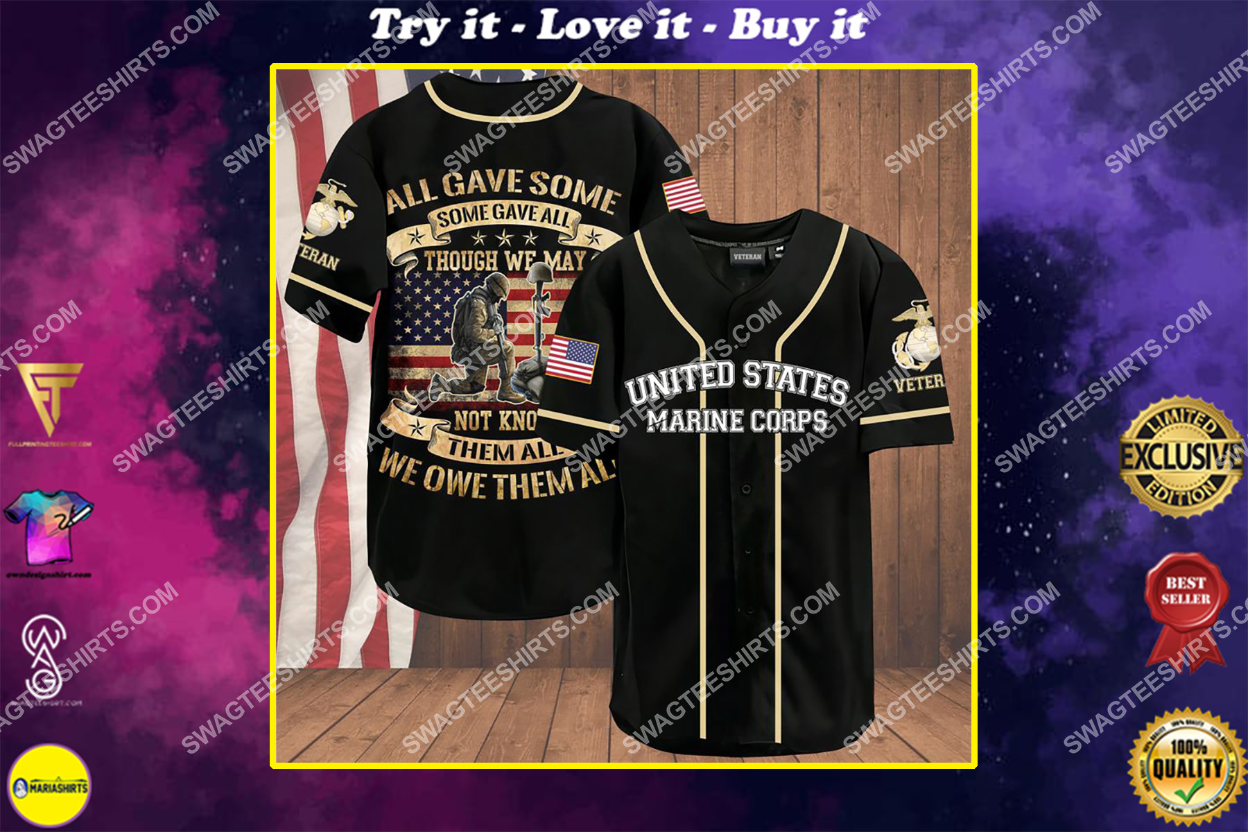 all gave some some gave all though we may not know them all we owe them all marines veteran baseball shirt