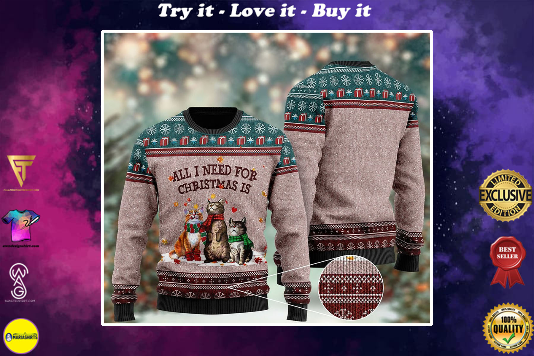 all i need for christmas is cat all over printed ugly christmas sweater