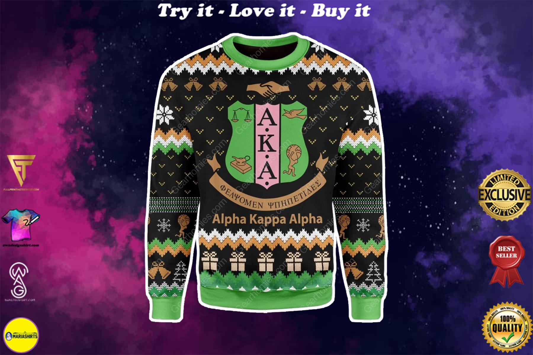 alpha kappa alpha all over printed ugly christmas sweater