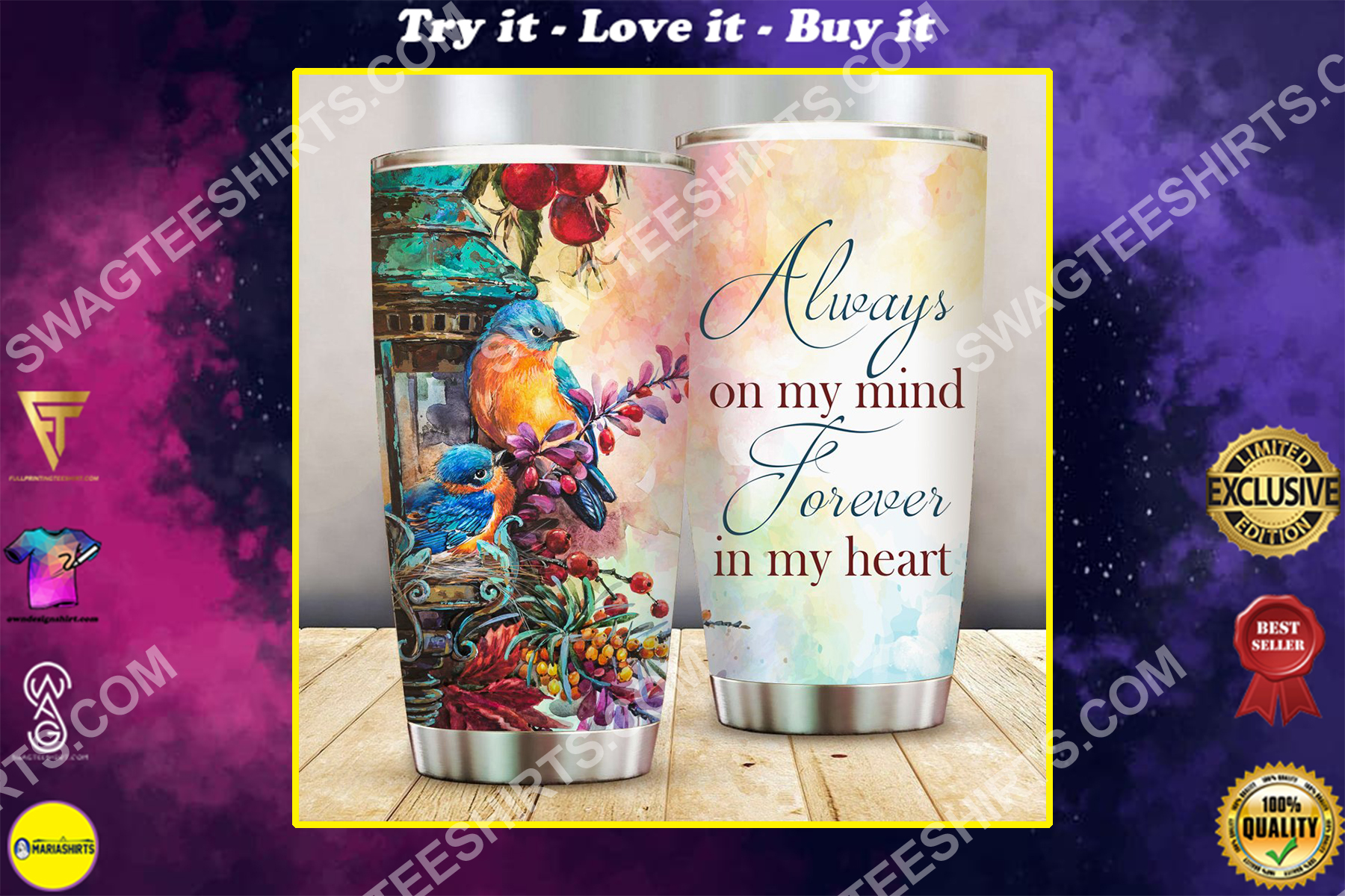 always on my mind forever in my heart all over printed stainless steel tumbler