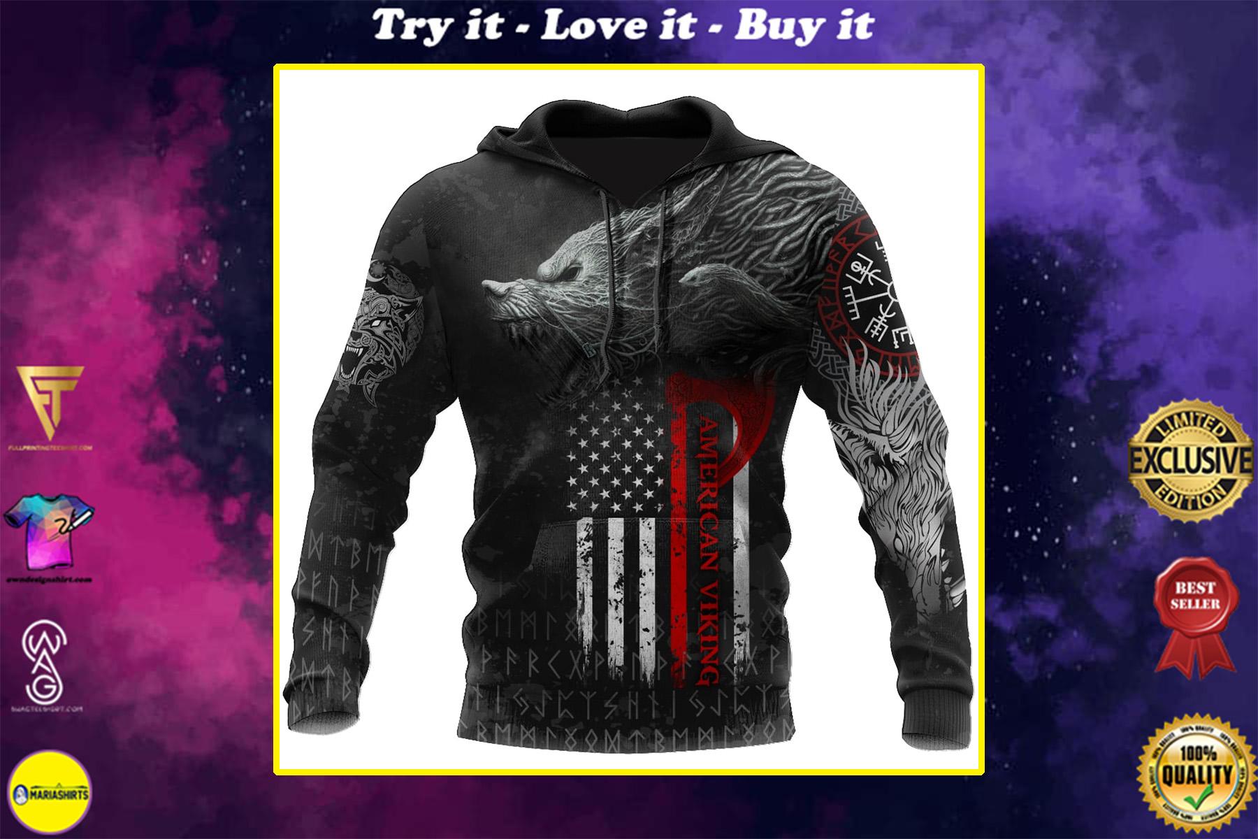 american flag viking fenrir all over printed shirt
