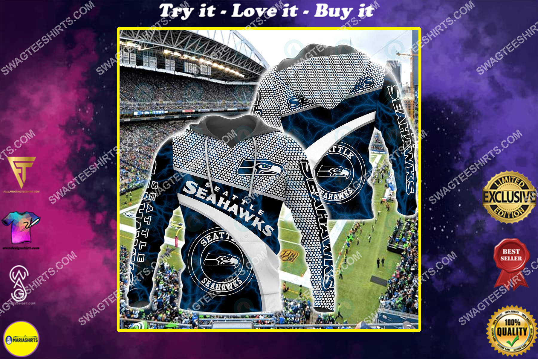american football team seattle seahawks all over printed shirt