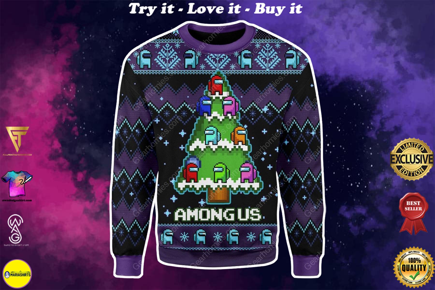 among us christmas tree all over printed ugly christmas sweater