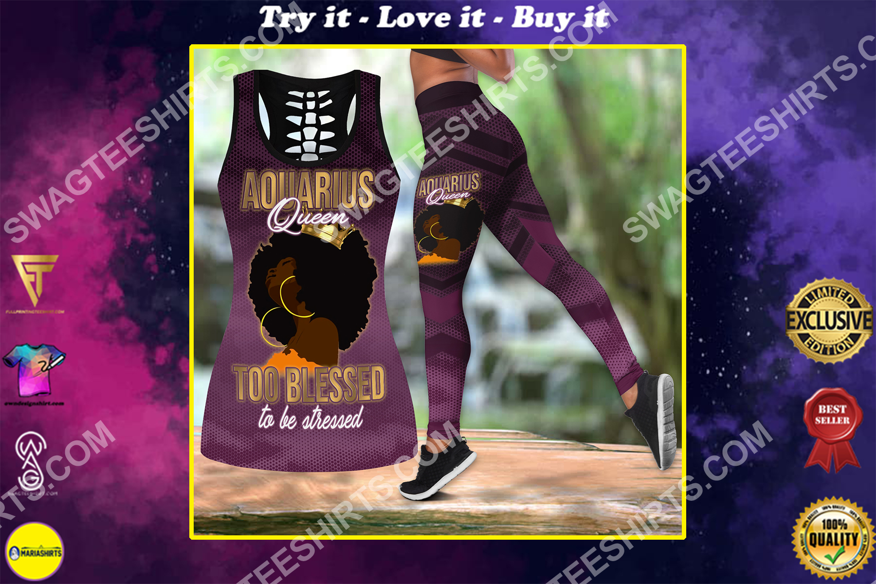 aquarius queen too blessed to be stressed birthday gift set sports outfit