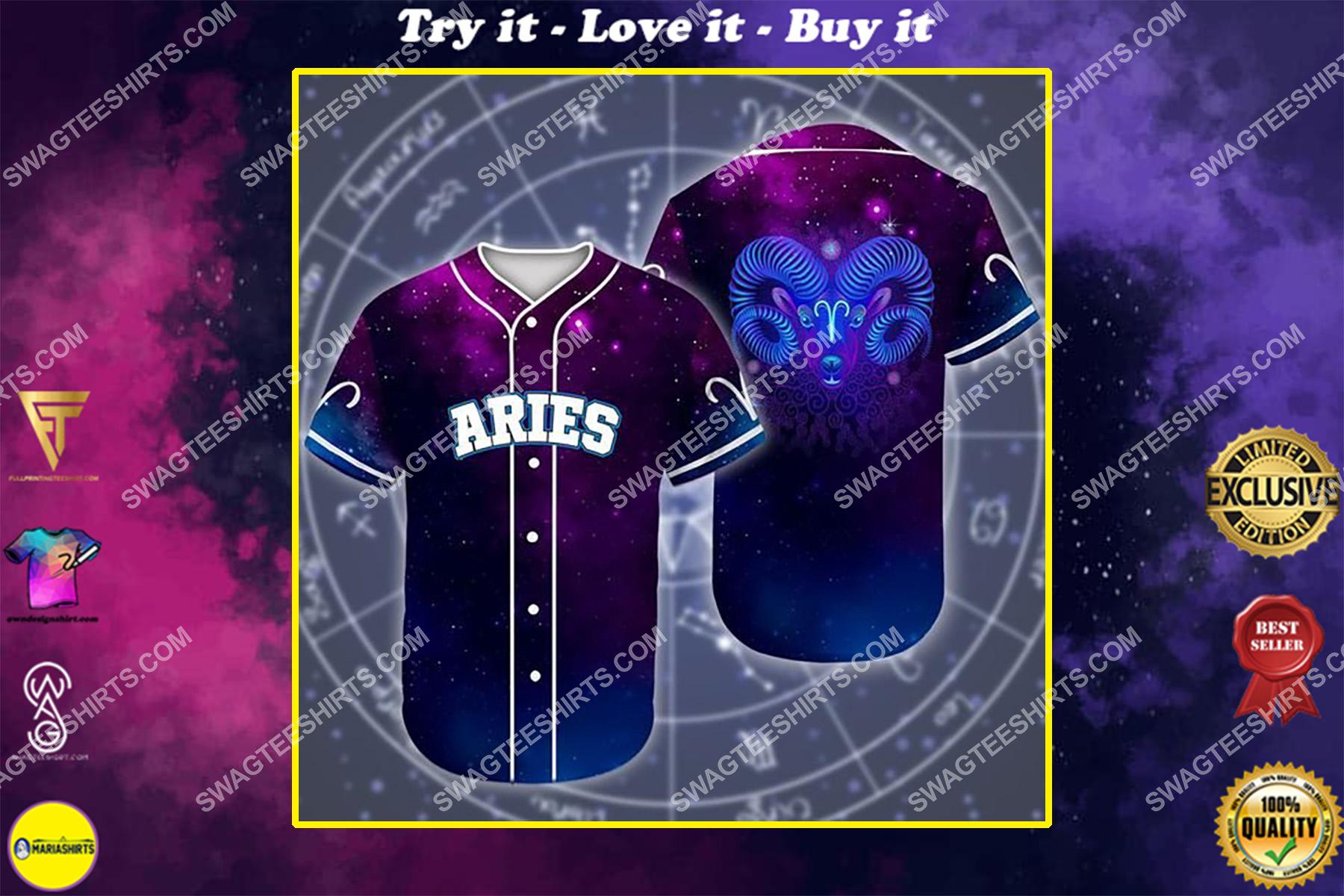 aries galaxy zodiac all over printed baseball shirt