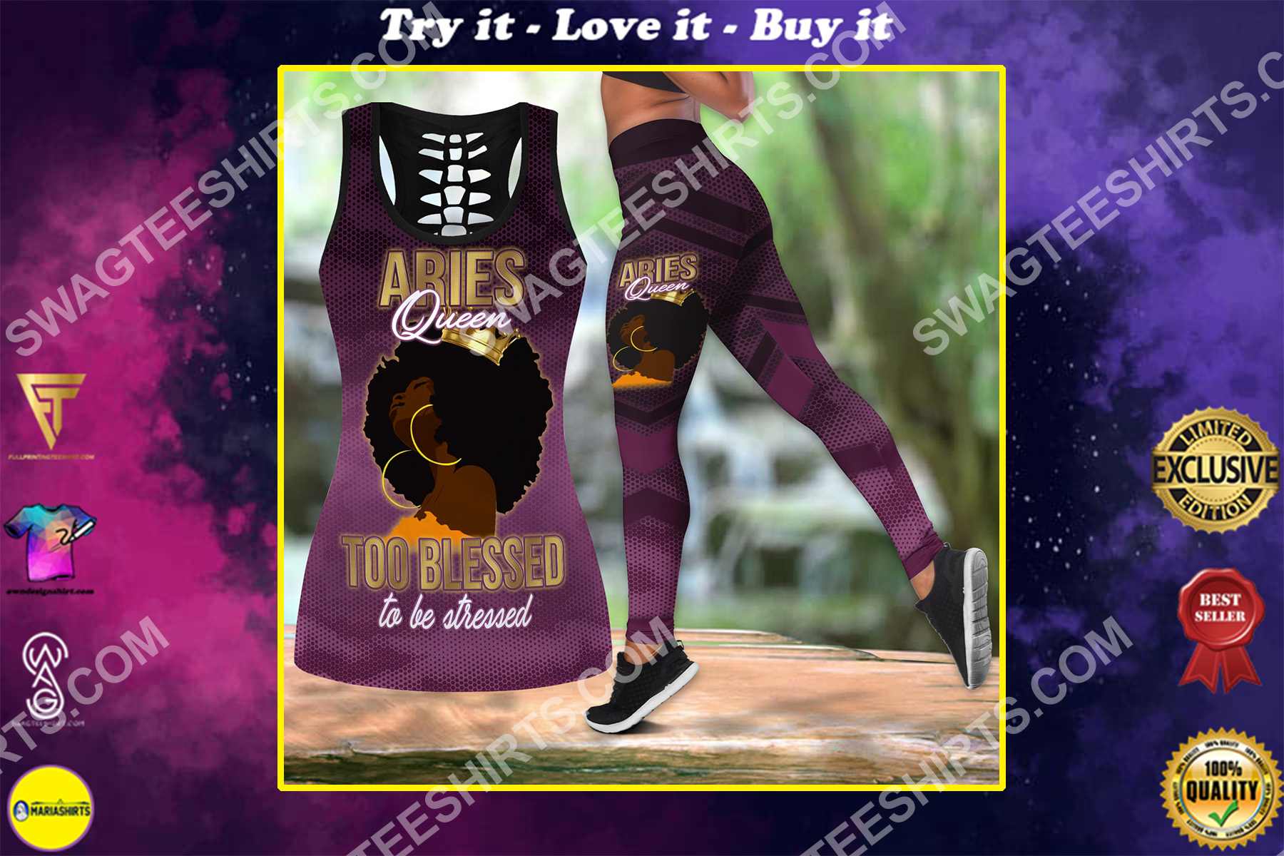 aries queen too blessed to be stressed birthday gift set sports outfit