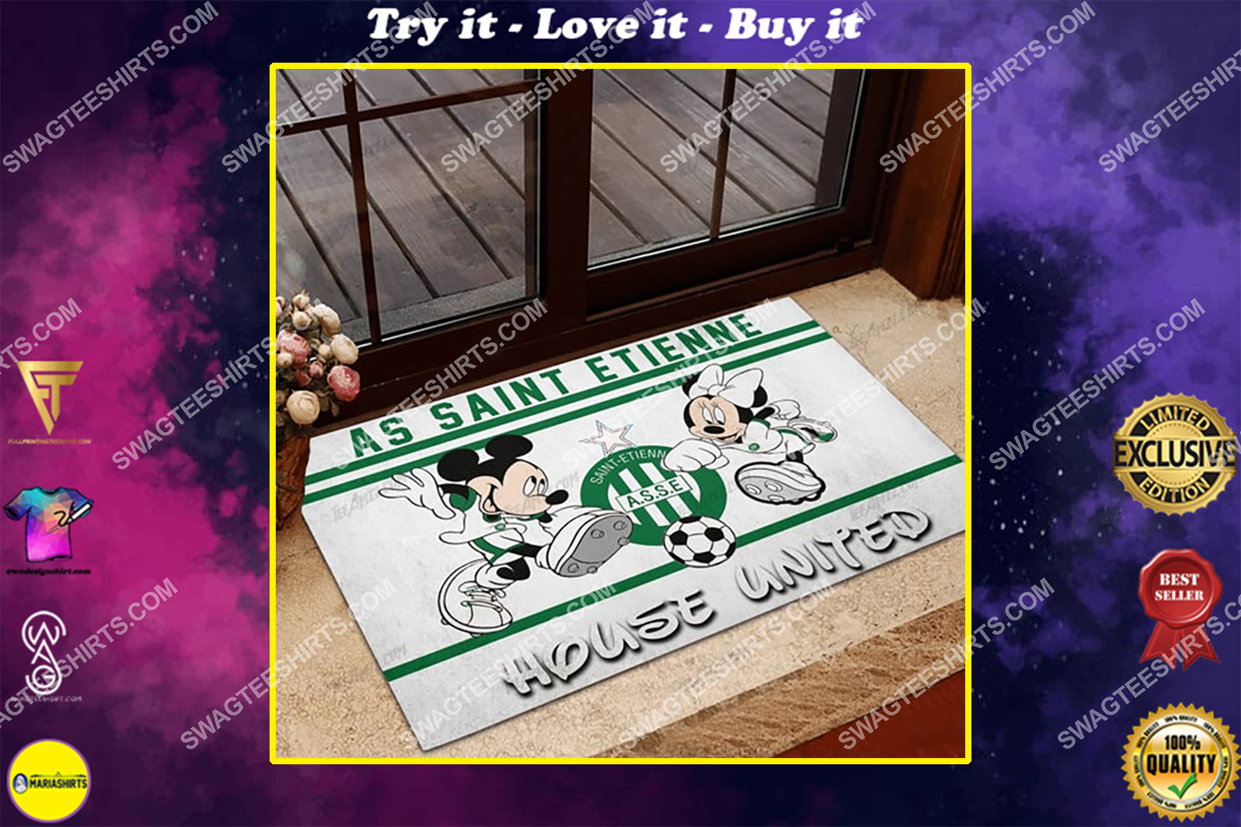 as saint etienne house united mickey mouse and minnie mouse doormat