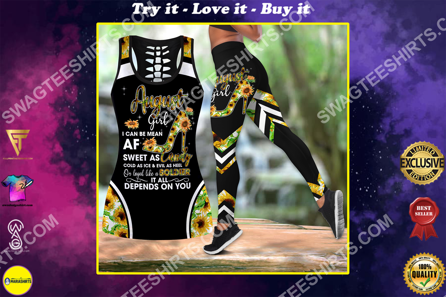 august girl i can be mean it all depends on you birthday gift set sports outfit