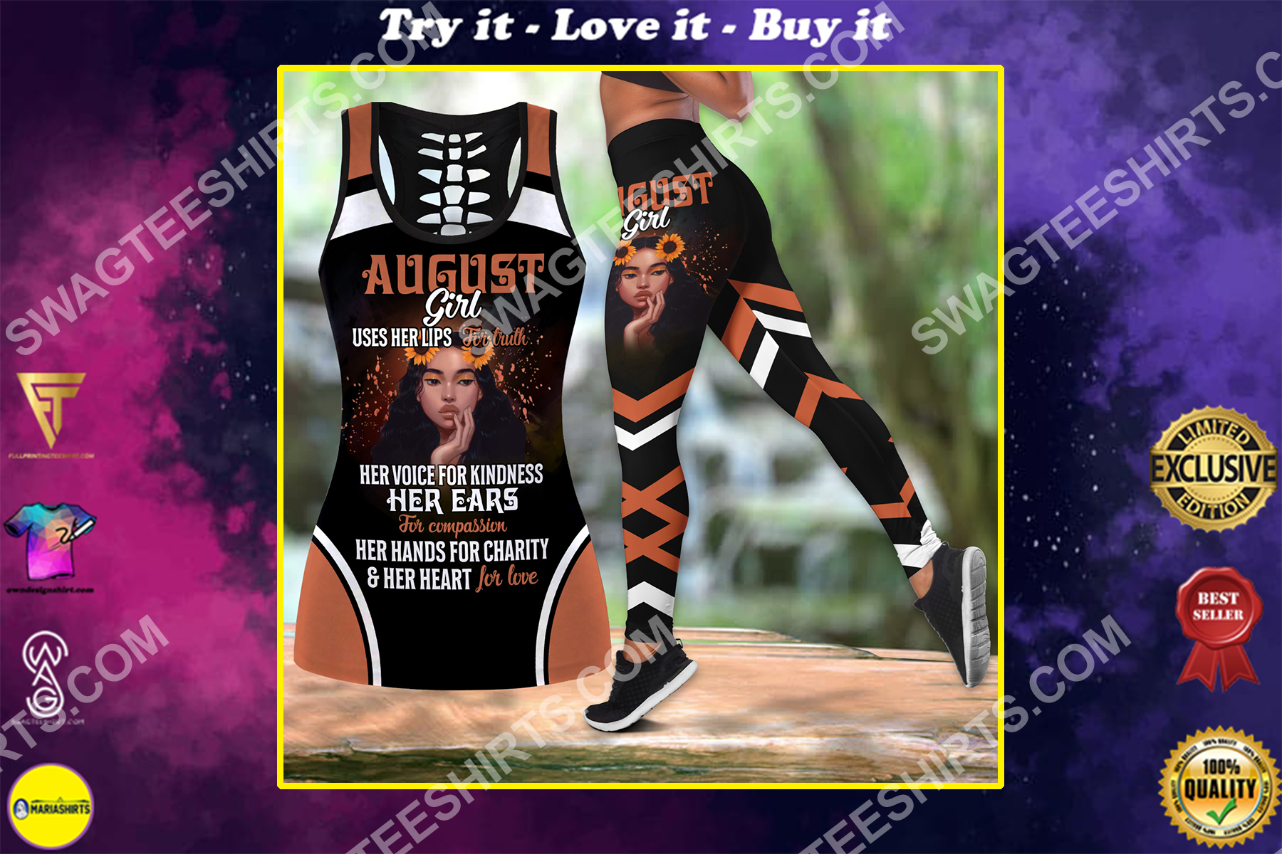 august girl uses her lips for truth birthday gift set sports outfit