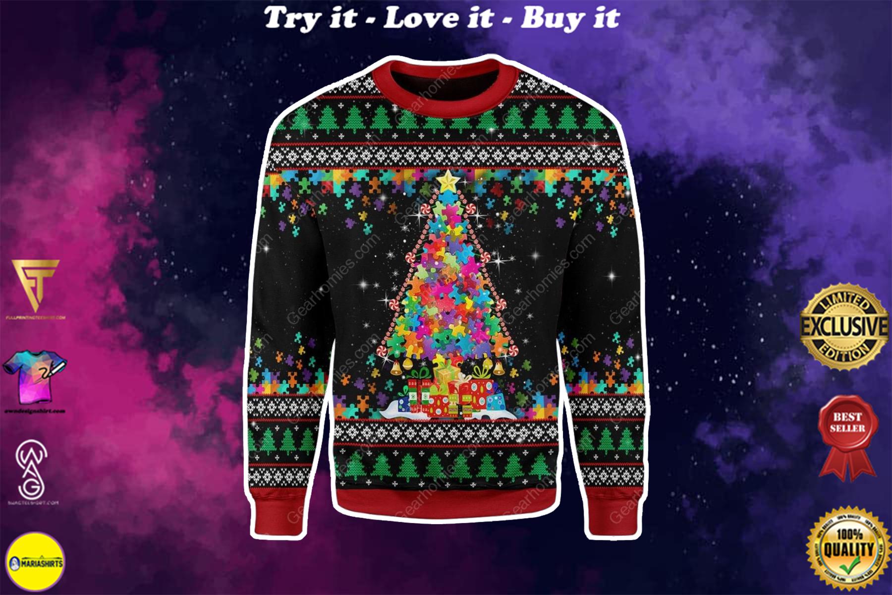 autism awareness all over printed ugly christmas sweater