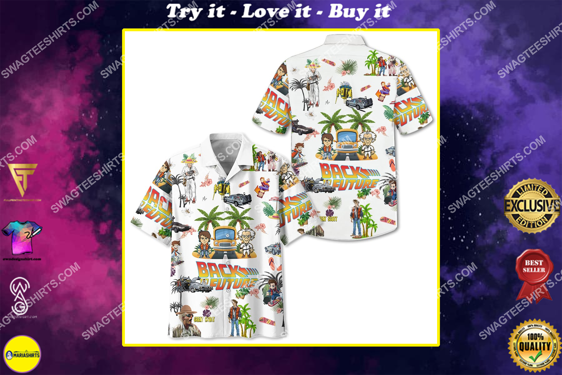 back to the future full printing hawaiian shirt