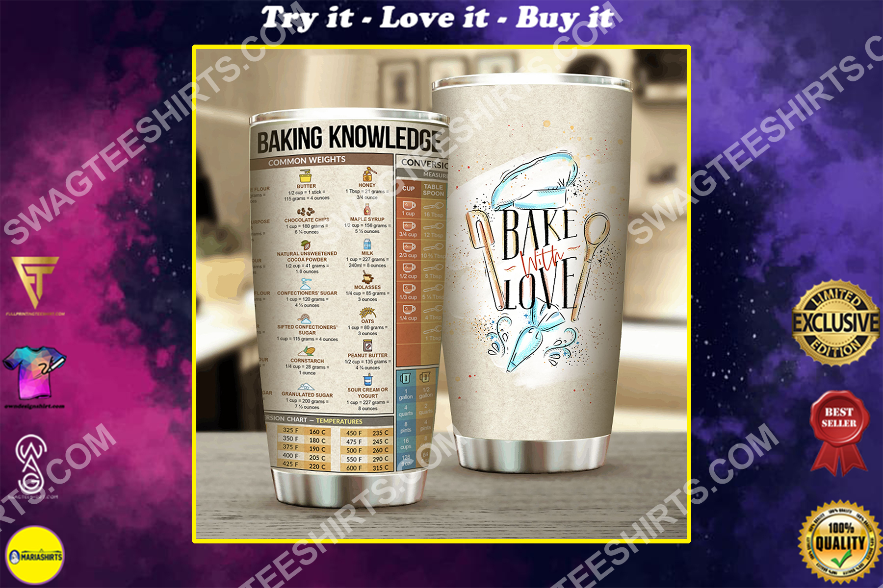 bake with love all over printed stainless steel tumbler