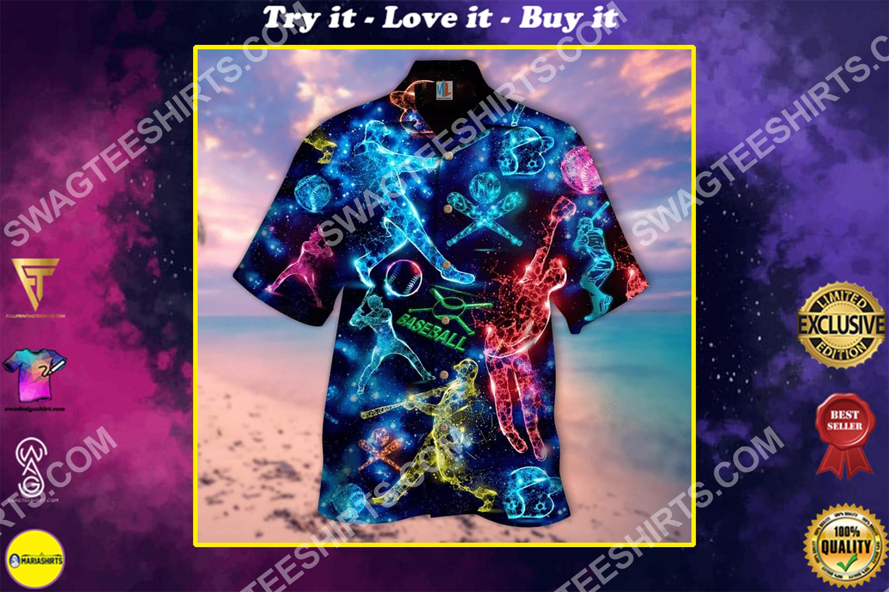 baseball lover all over printed hawaiian shirt