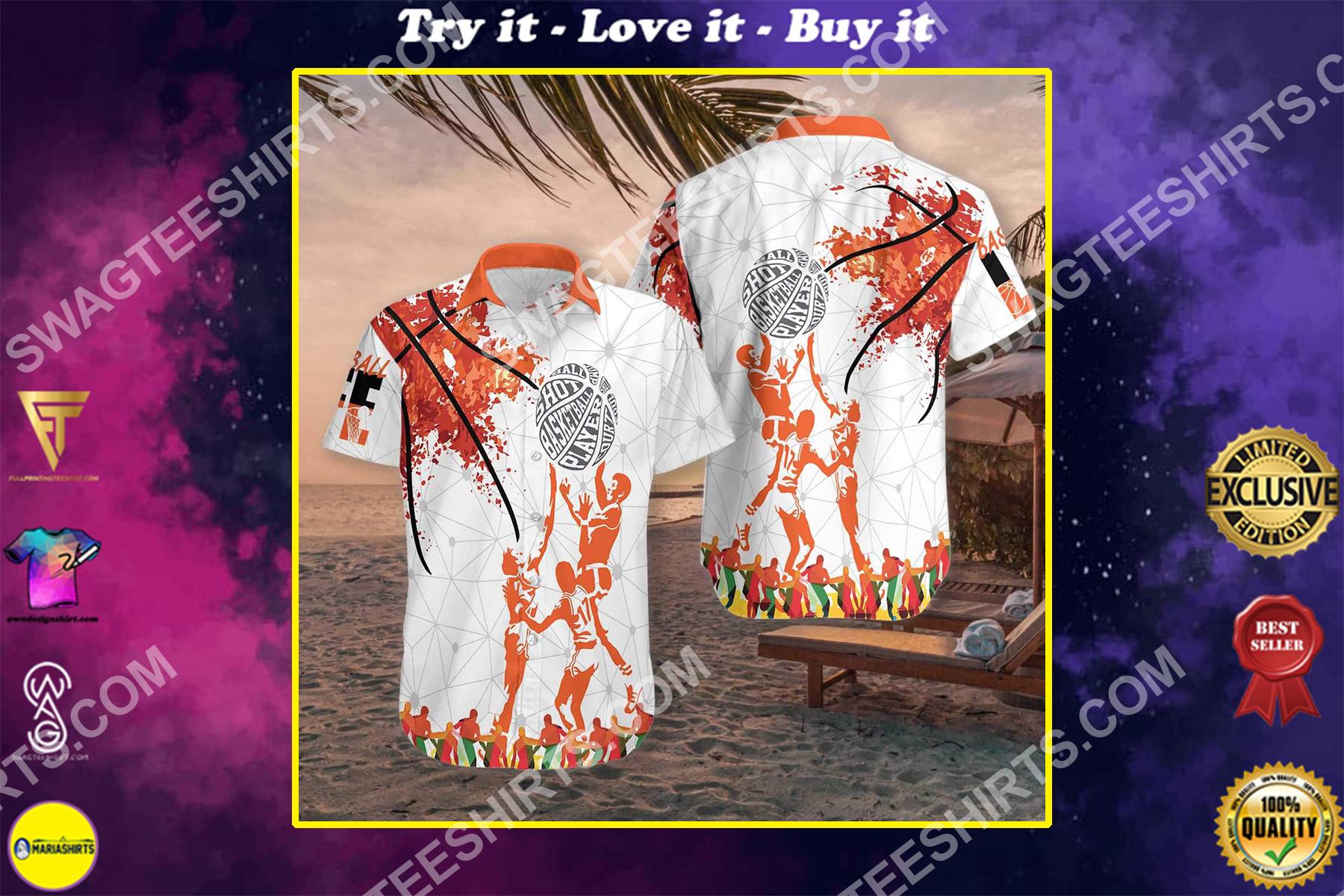 basketball all over printed hawaiian shirt