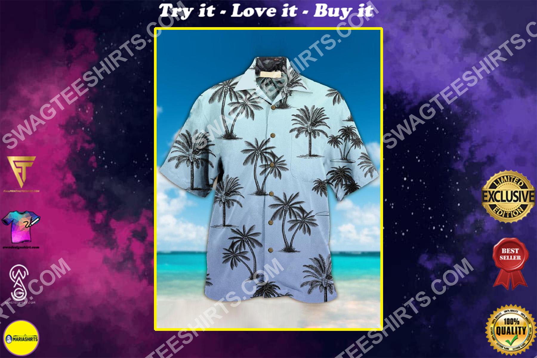 beach and coconut tree all over printing hawaiian shirt