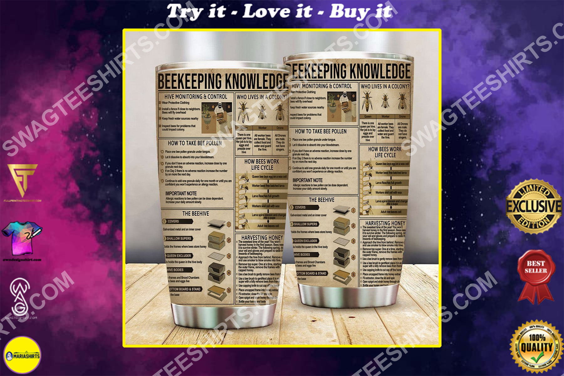 beekeeper knowledge all over printed stainless steel tumbler