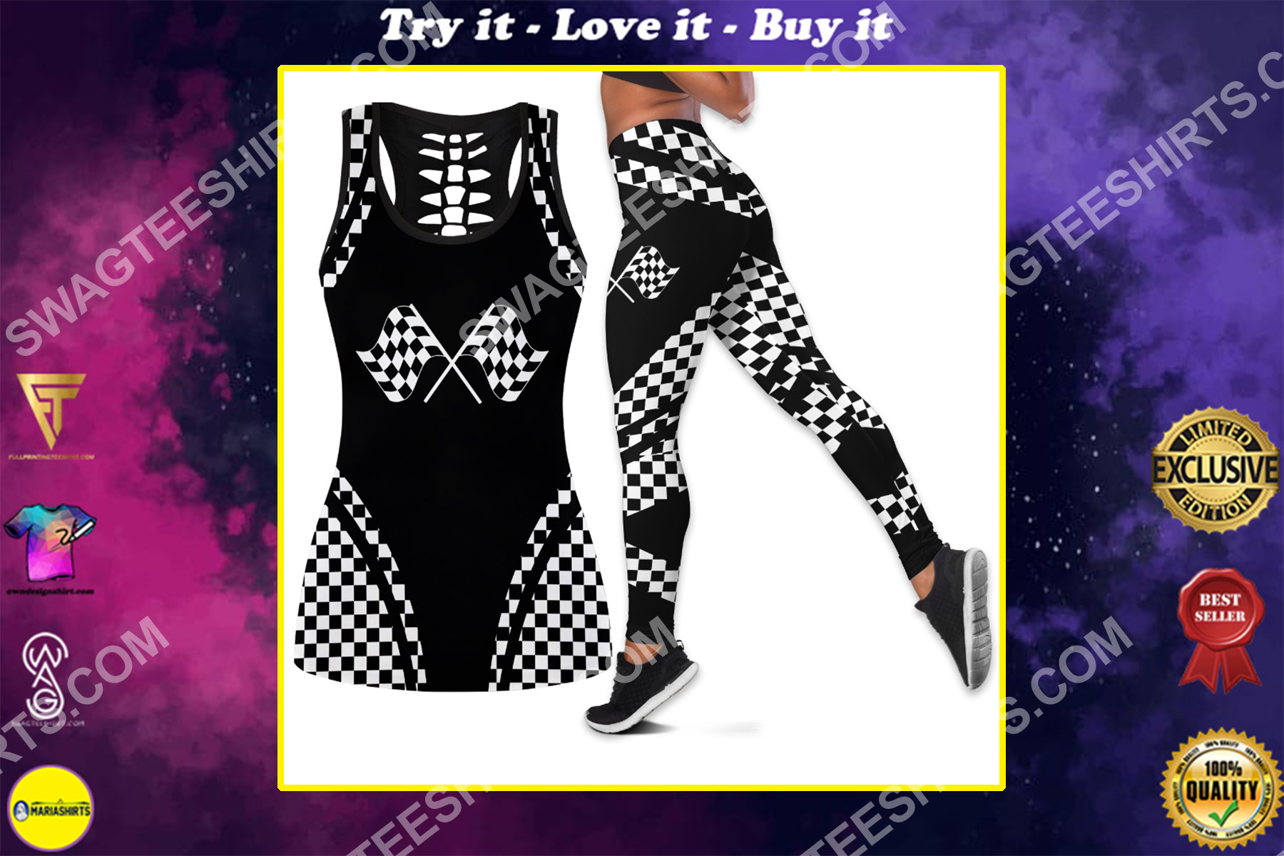 black and white racing flag all over printed set sports outfit