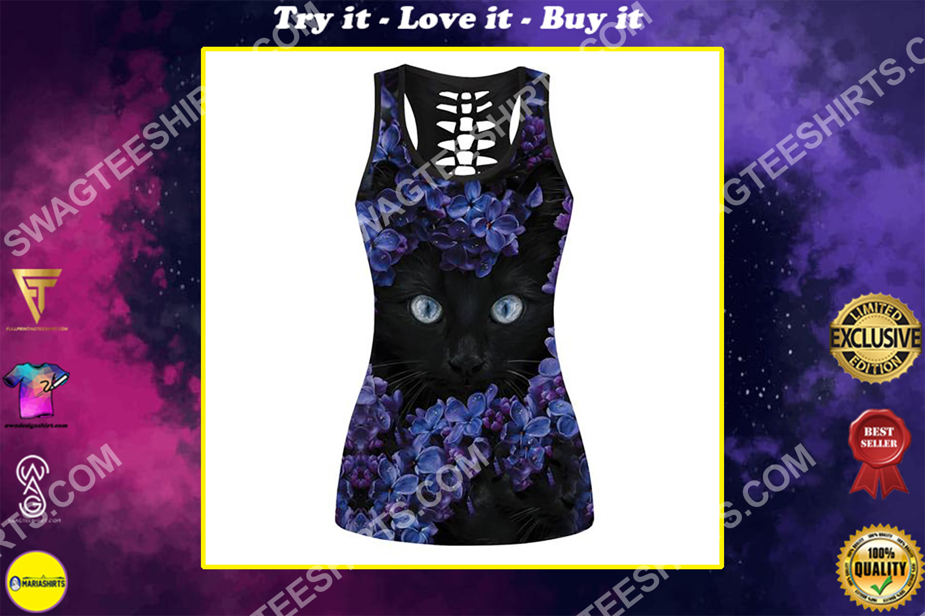 black cat and flowers full printing hollow tank top